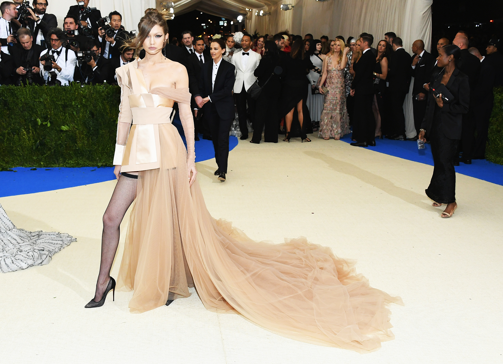Gigi Hadid attends The Metropolitan Museum of Art's Costume Institute benefit gala celebrating the opening of the Rei Kawakubo/Comme des Garçons: Art of the In-Between exhibition in New York City, on May 1, 2017.