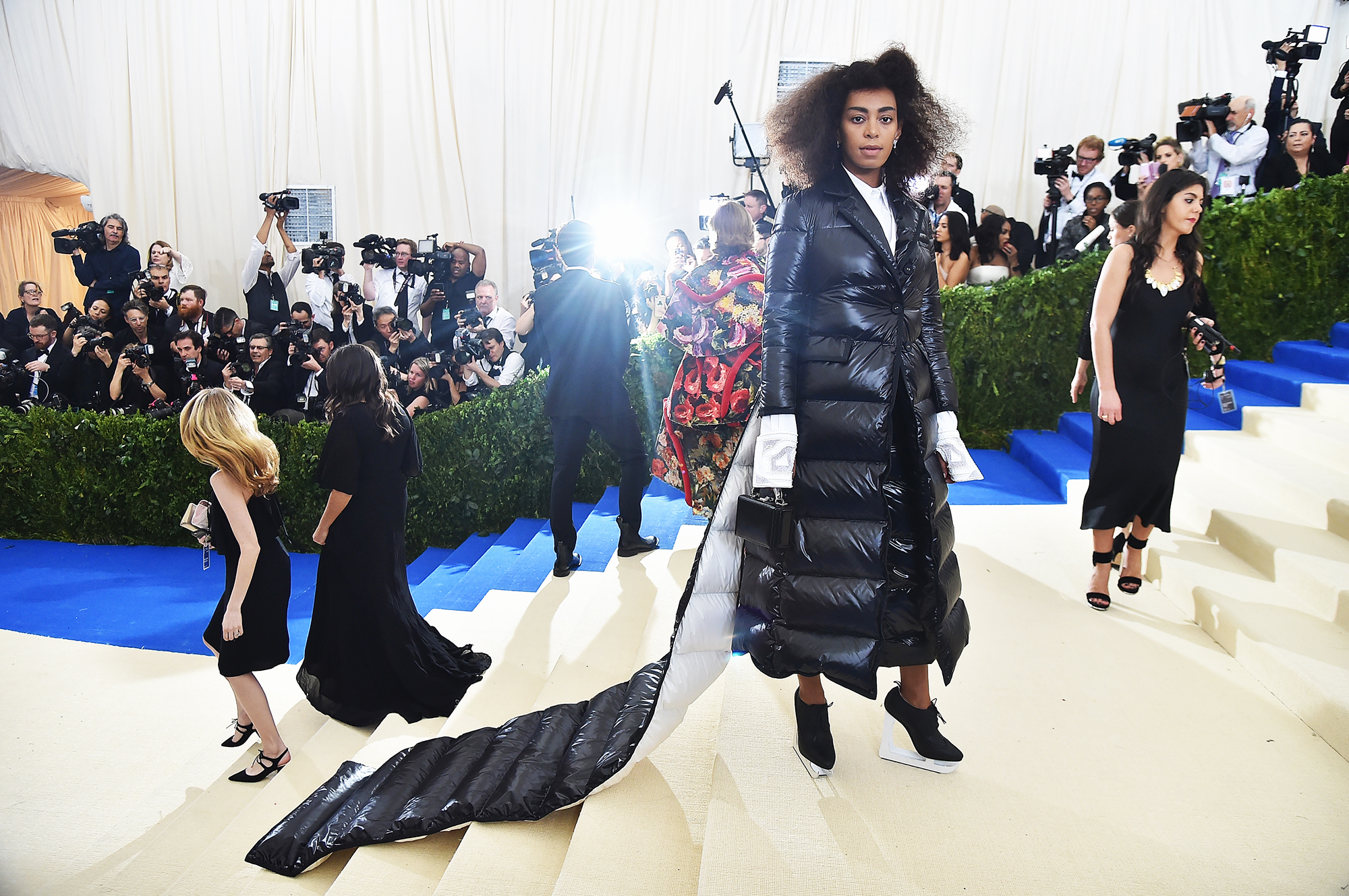 Solange attends The Metropolitan Museum of Art's Costume Institute benefit gala celebrating the opening of the Rei Kawakubo/Comme des Garçons: Art of the In-Between exhibition in New York City, on May 1, 2017.