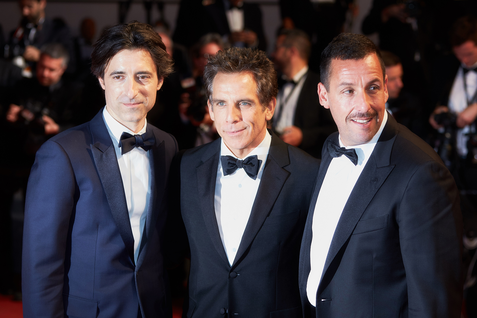 From left: Director Noah Baumbach, Ben Stiller and Adam Sandler, on May 21, 2017 in Cannes, France.
