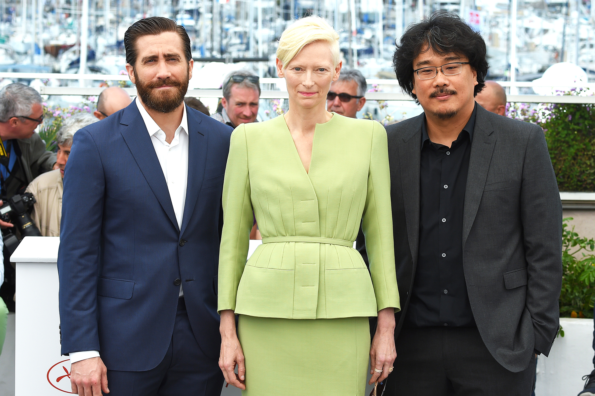 From left: Jake Gyllenhaal, Tilda Swinton and director Bong Joon-Ho in Cannes, France, on May 19, 2017.