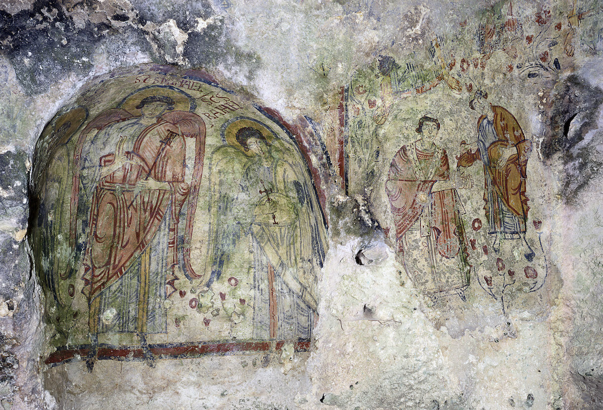 Detail of a painting in the Crypt of the Original Sin, in Basilicata, Matera, Italy.