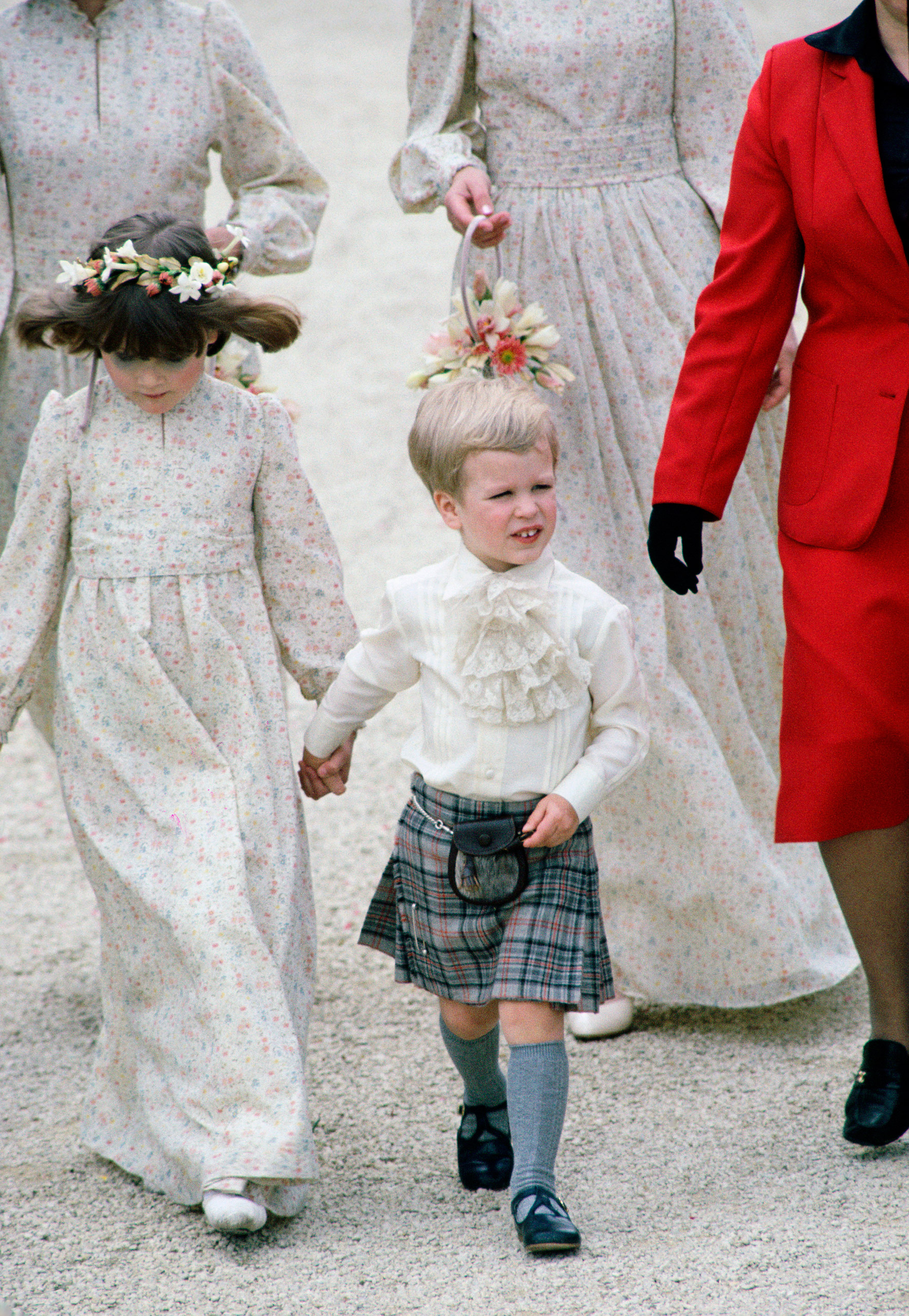 Peter Phillips dressed as a pageboy for his Aunt Sarah Phillips' wedding.