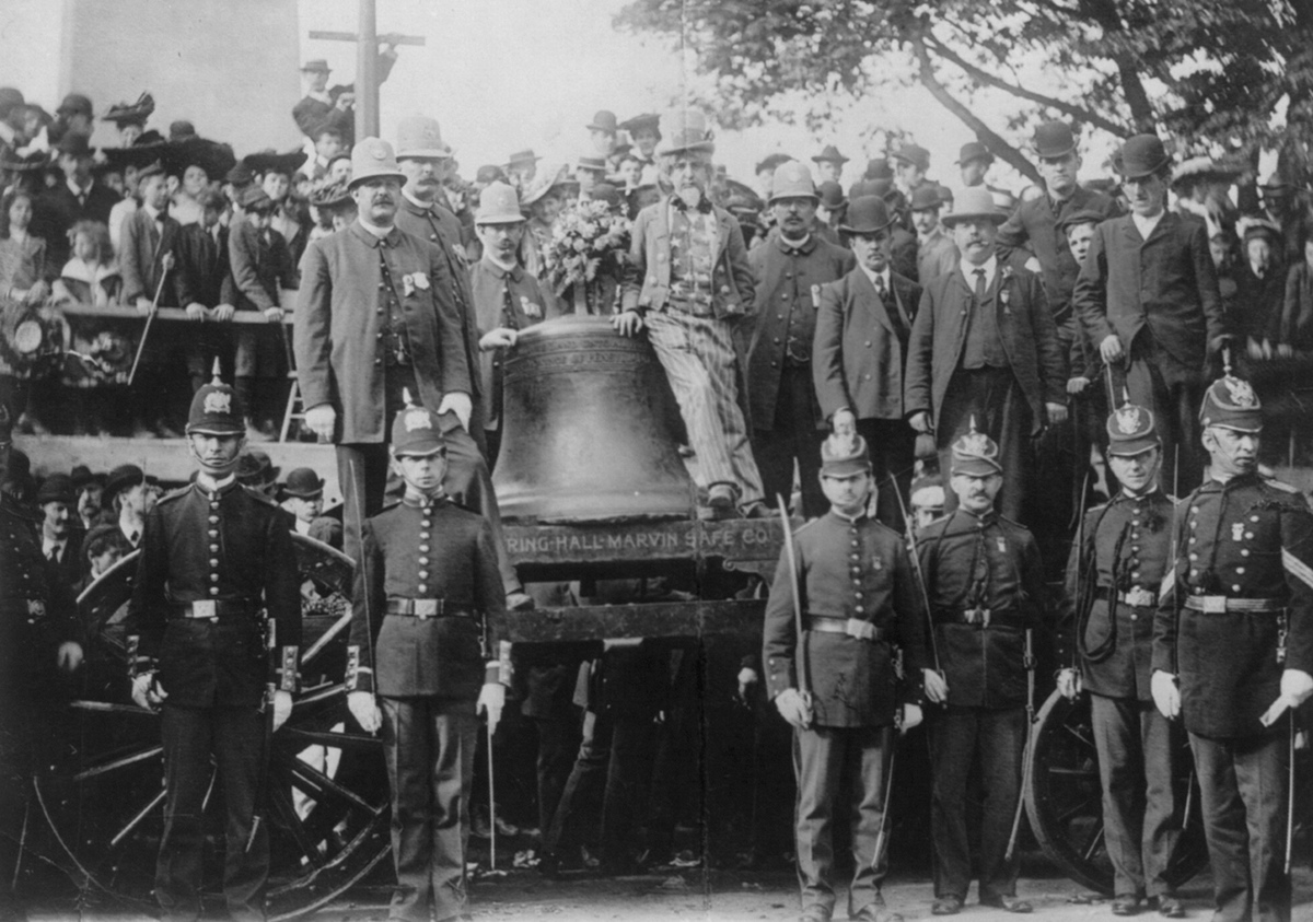 Boston Police watch over the Liberty Bell circa 1903.