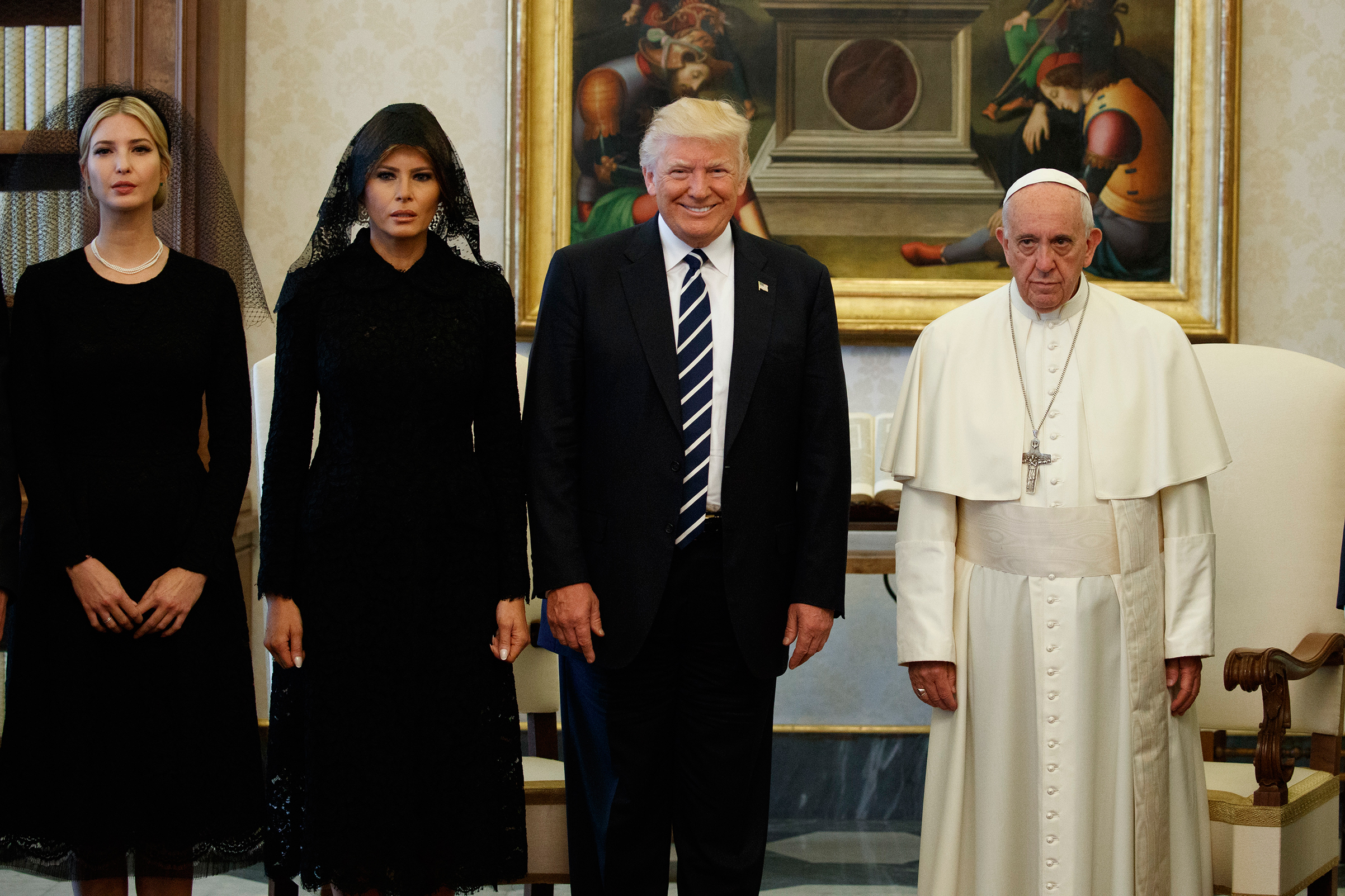 Ivanka Trump, First Lady Melania Trump, and President Donald Trump stand with Pope Francis during a meeting at the Vatican on May 24, 2017.