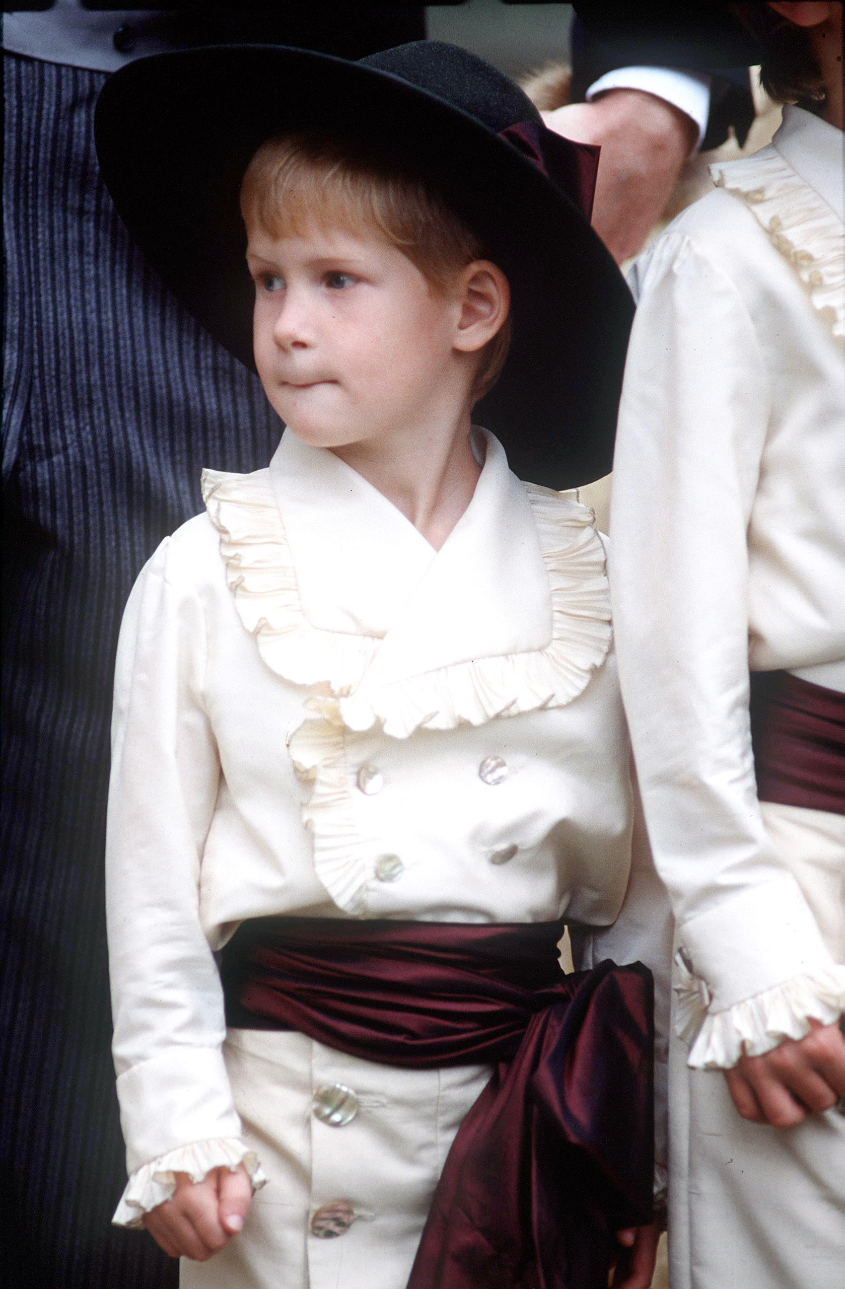 Prince Harry as an Edwardian style pageboy at the wedding of his Uncle, Viscount Althorp. 1989.