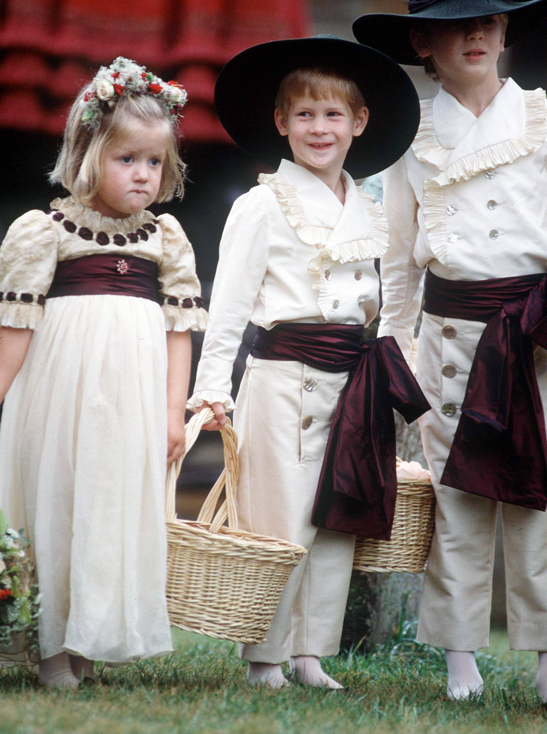 Prince Harry as a pageboy at his Uncle's wedding with his cousins Eleanor and Alexander Fellowes. 1989.