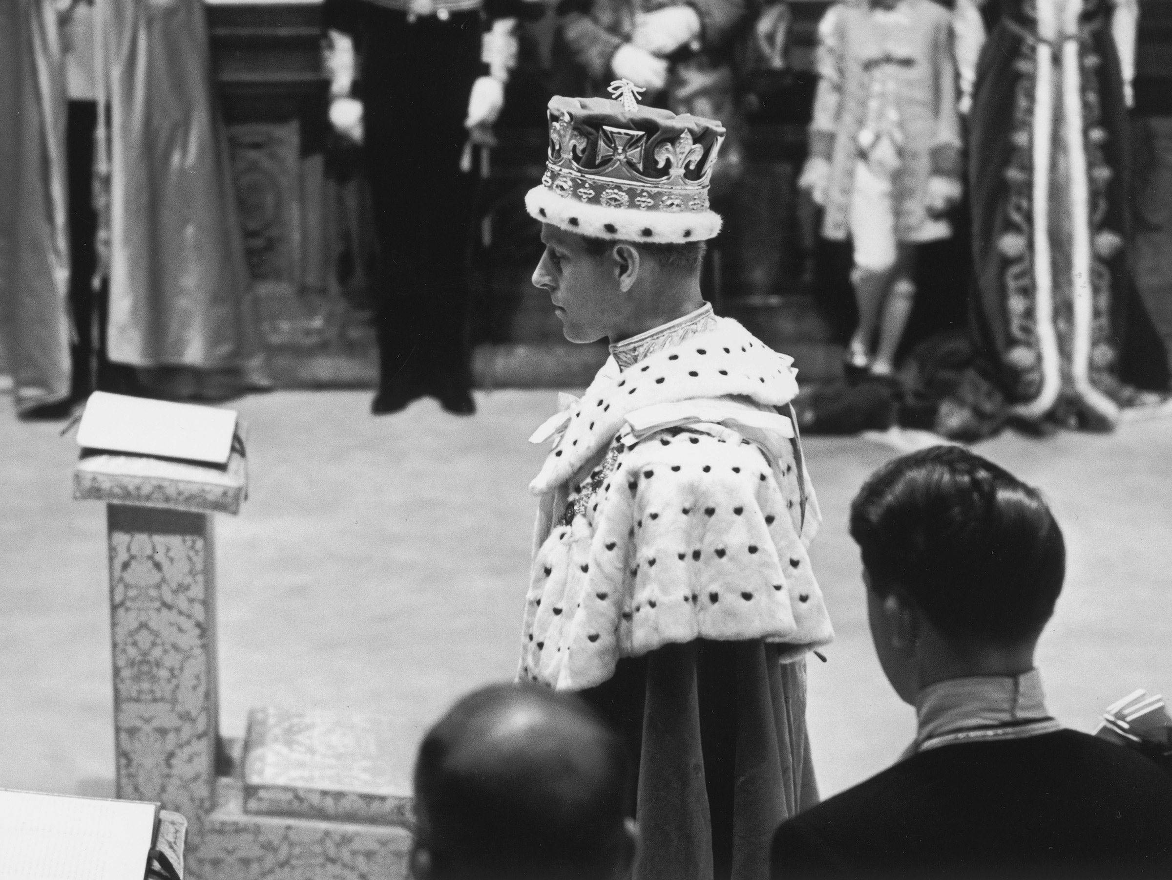 The Duke of Edinburgh attends the coronation ceremony of Queen Elizabeth II at Westminster Abbey, in London, on June 2, 1953.