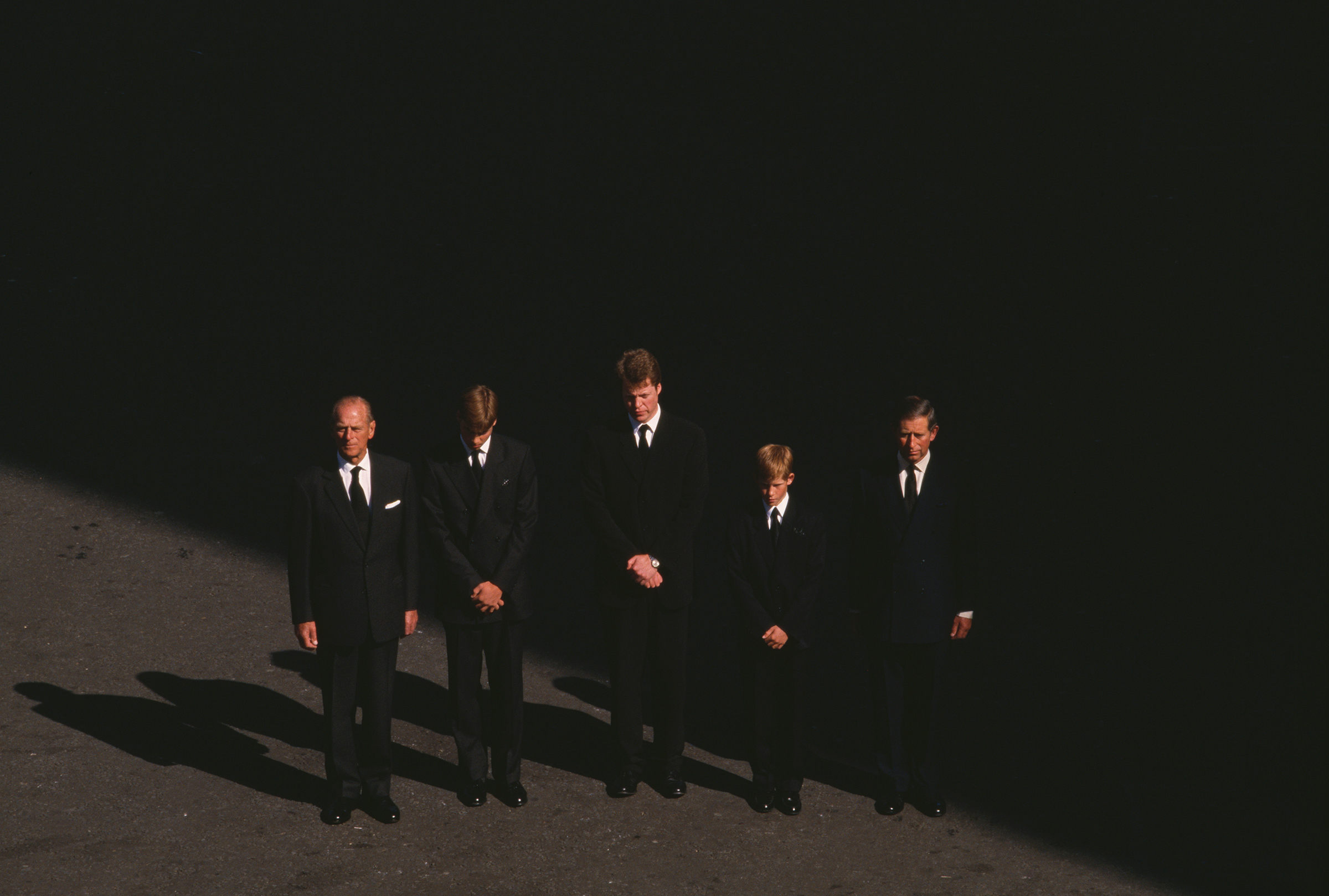 Prince Philip stands with Prince William, Earl Charles Spencer, Prince Harry and Prince Charles at the funeral of Princess Diana, on Sept. 6, 1997.