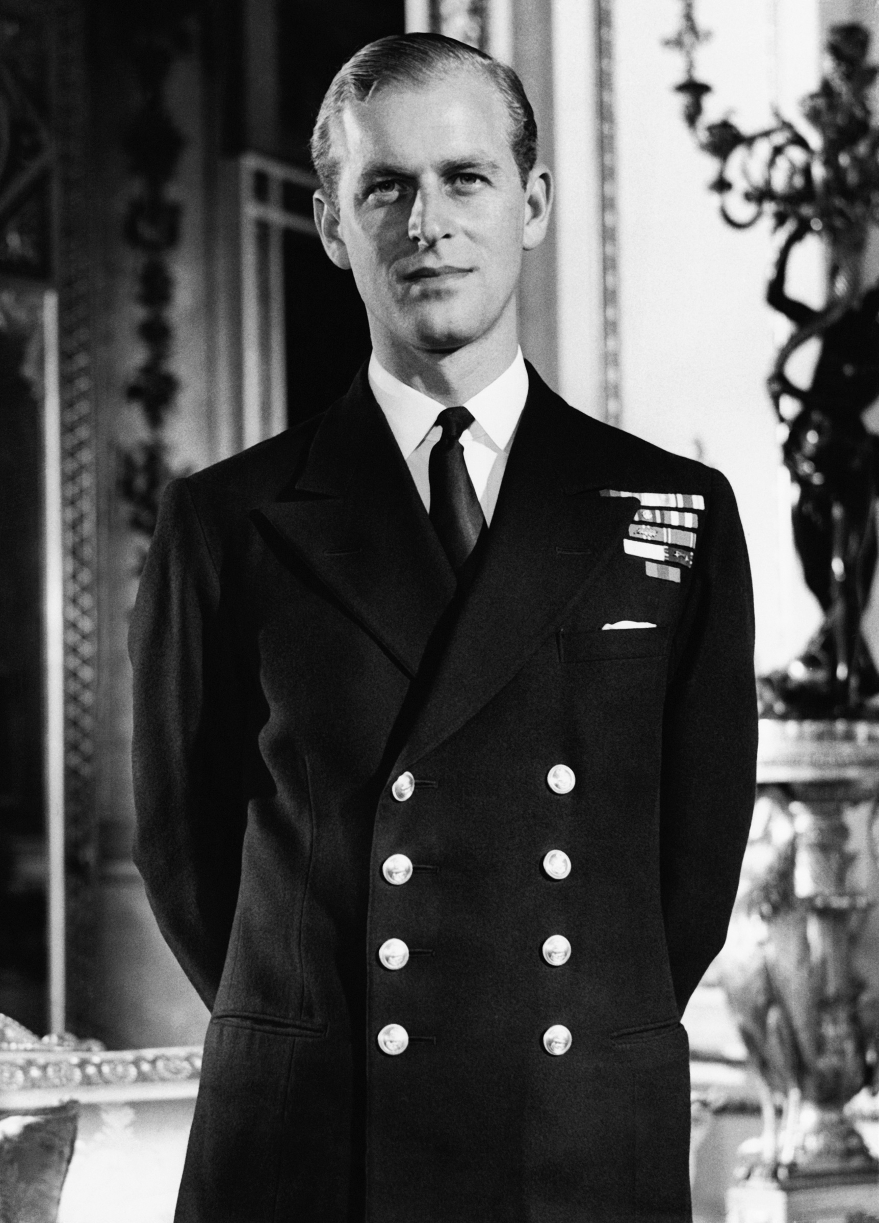 Philip Mountbatten in the White Drawing Room at Buckingham Palace in London, in October 1947.
