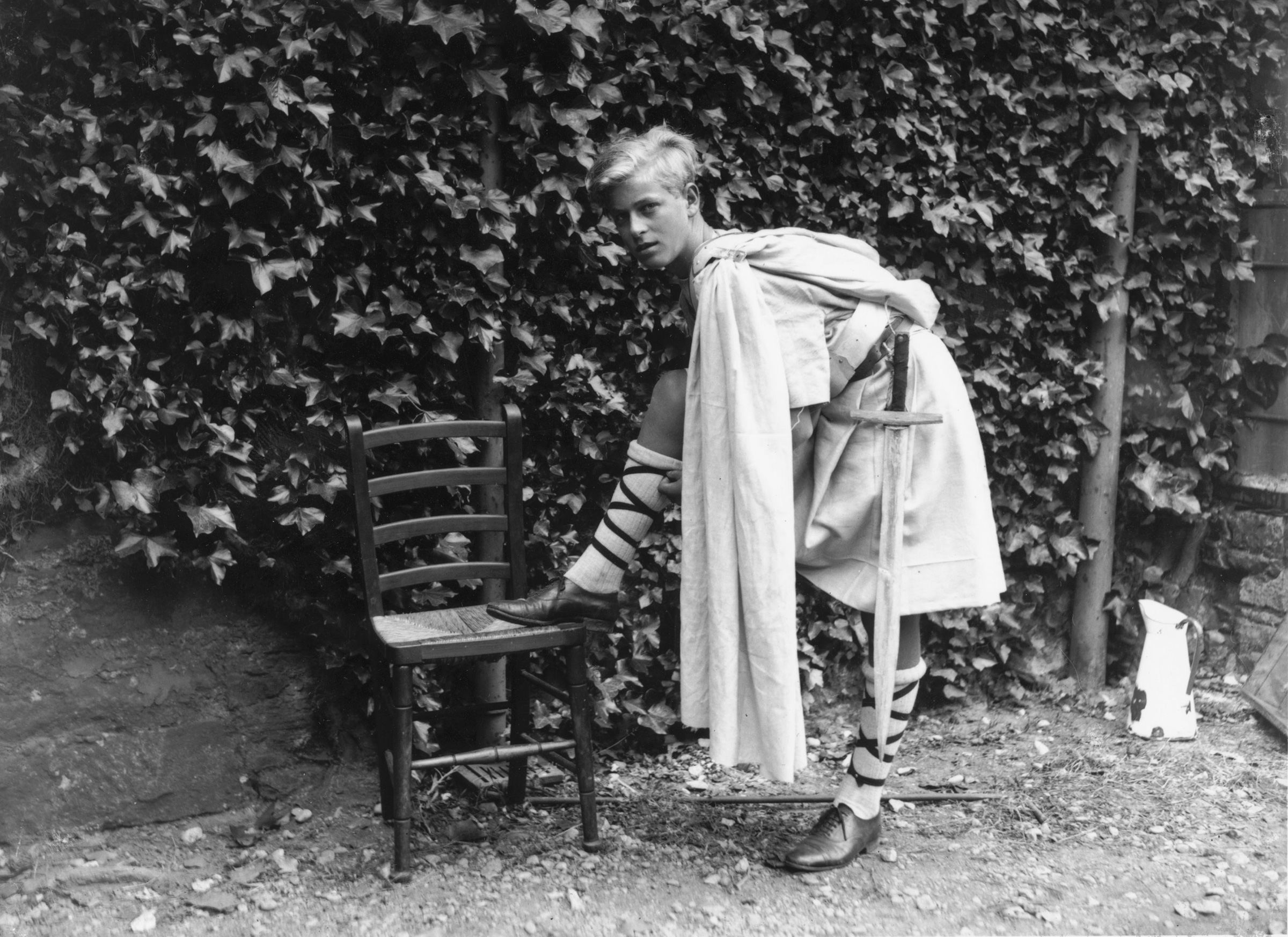Prince Philip of Greece dressed for the Gordonstoun school's production of 'Macbeth,' in Scotland, July 1935.