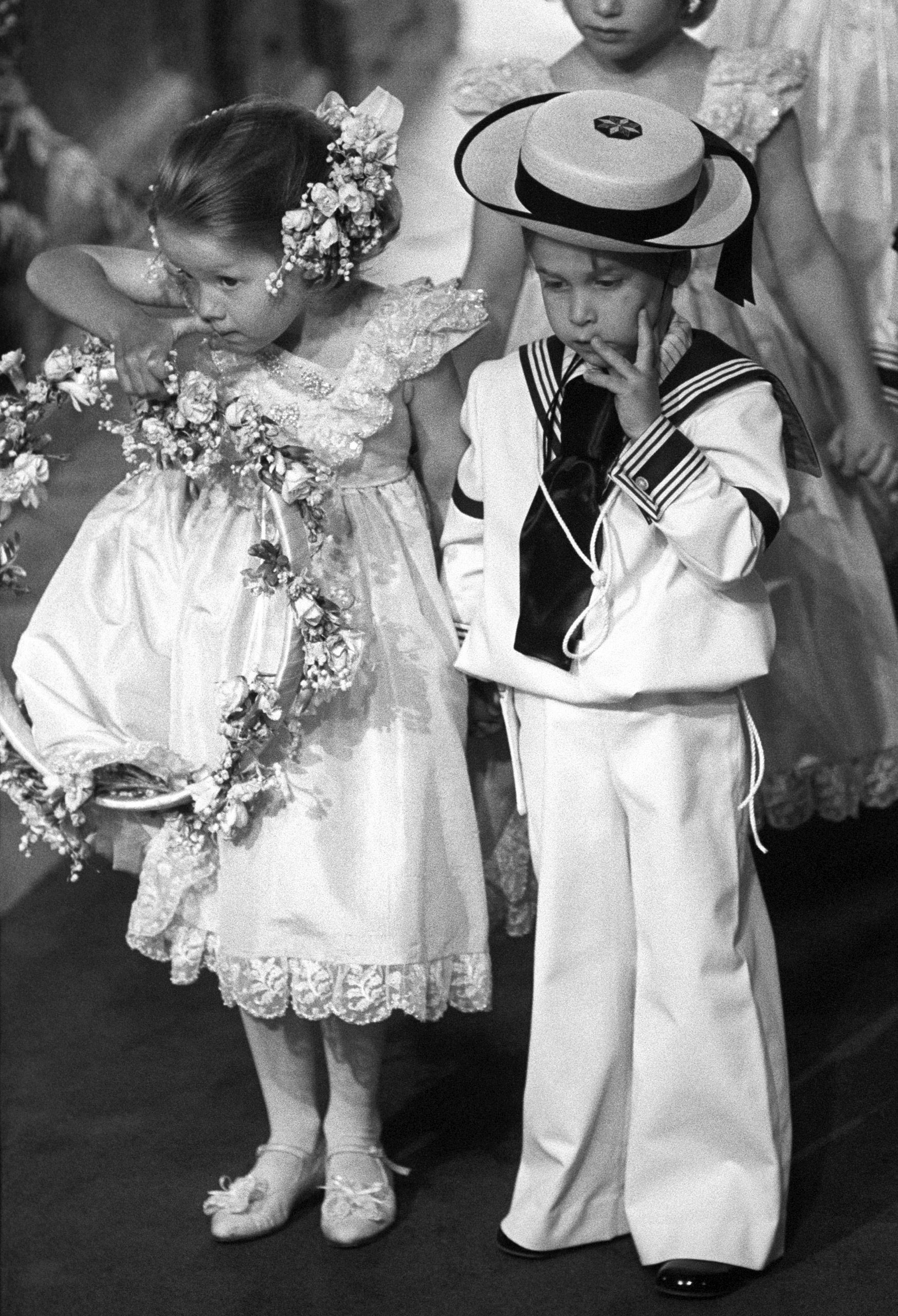Prince William with his cousin Laura Fellowes at the wedding of the Duke and Duchess of York, July 23, 1986