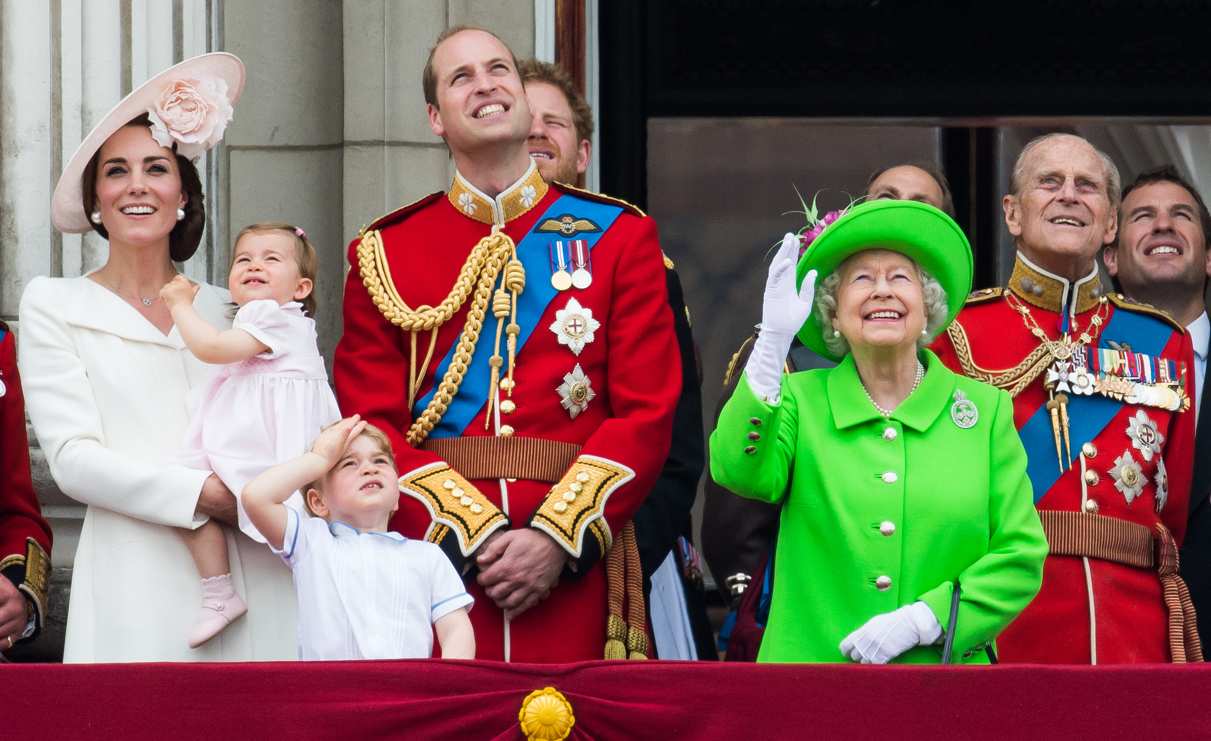 Catherine, Duchess of Cambridge, Princess Charlotte, Prince George, Prince William, Duke of Cambridge, Queen Elizabeth II and Prince Philip, Duke of Edinburgh, stand on the balcony during the Trooping the Colour, this year marking the Queen's official 90th birthday at The Mall in London on June 11, 2016 in London, England. The ceremony is the Queen's annual birthday parade.