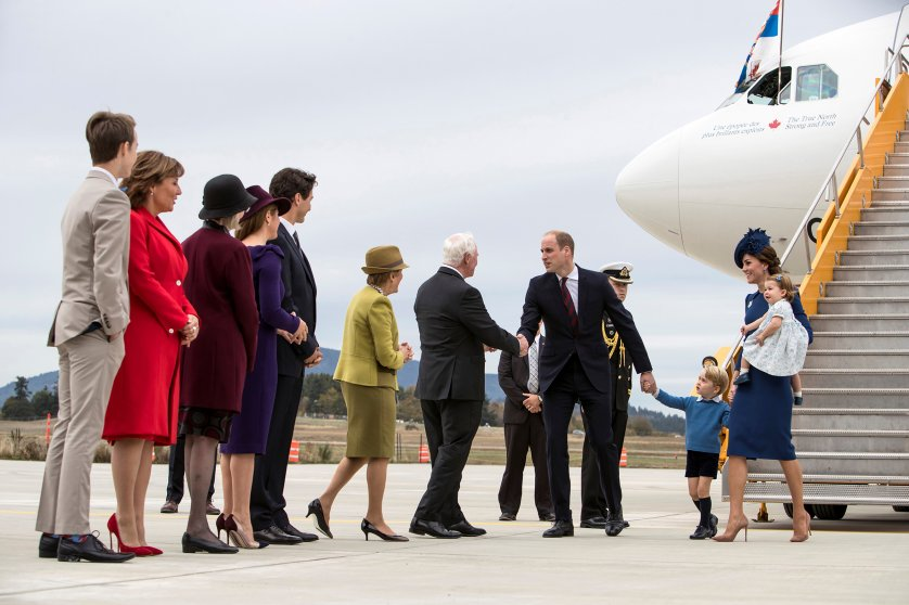 Britain's Prince William, Catherine, Duchess of Cambridge, Prince George and Princess Charlotte arrive at the Victoria International Airport for the start of their eight-day royal tour to Canada in Victoria, British Columbia, on Sept. 24, 2016.