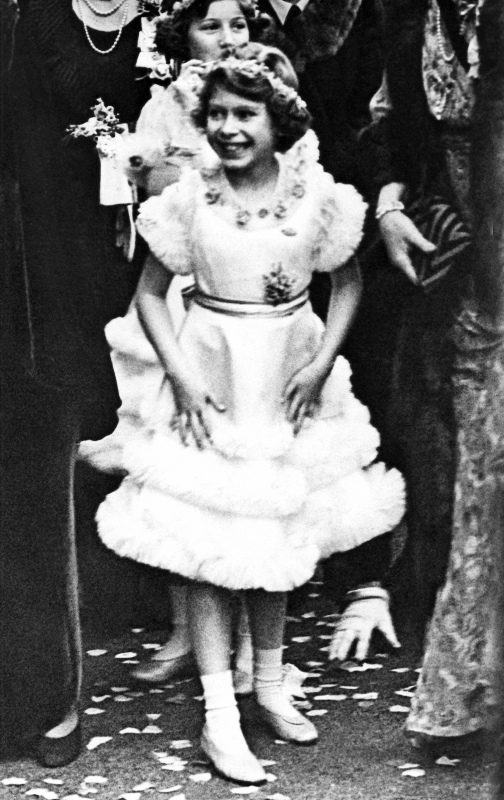 Princess Elizabeth, age 9, after the wedding of the Duke of Gloucester and Lady Alice Scott on Nov. 6, 1935.