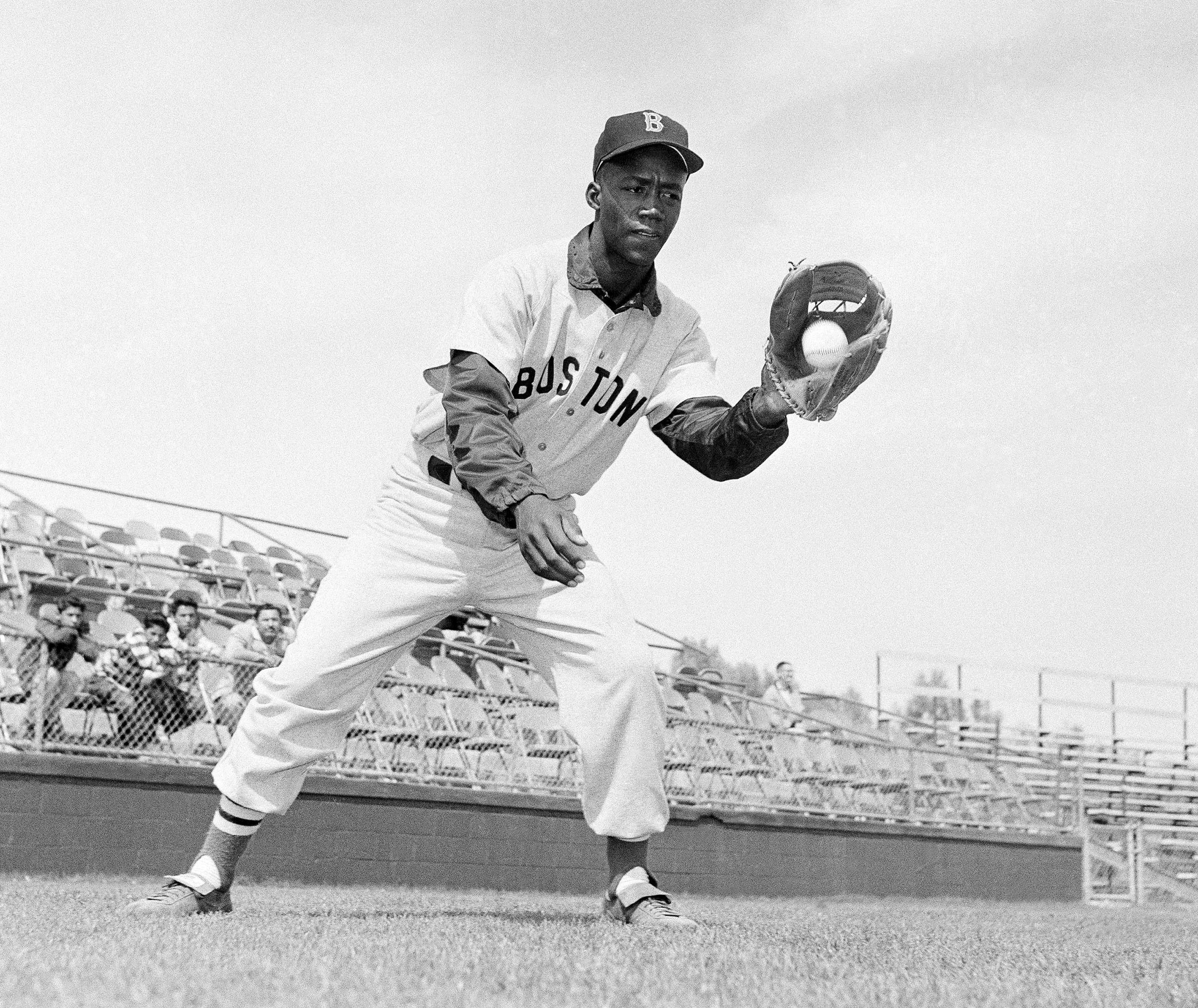 Elijah  Pumpsie  Green, of the Boston Red Sox, shown in action, April 20, 1959. Green was the first black player on the Red Sox.
