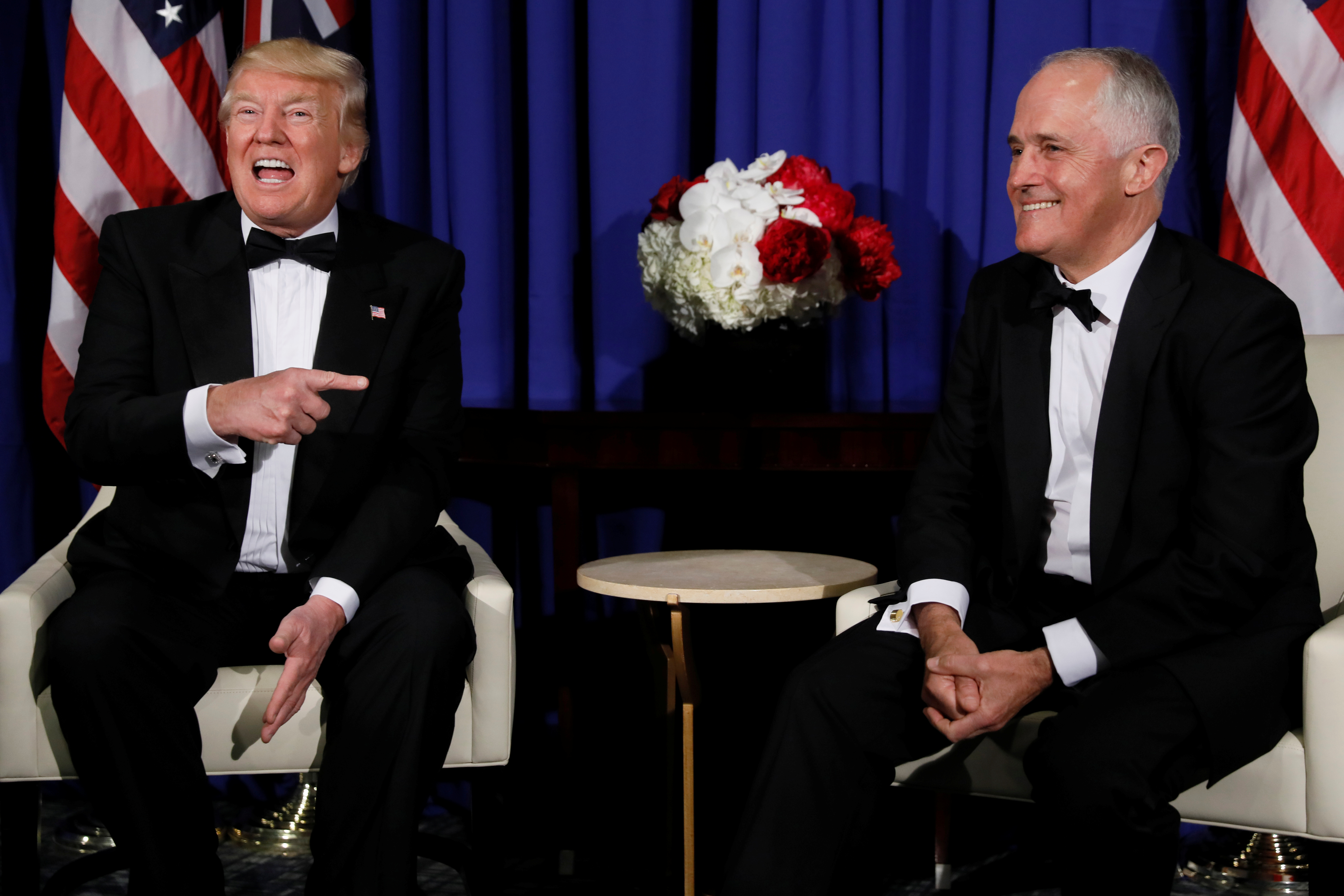 President Trump and Australia's Prime Minister Malcolm Turnbull deliver remarks to reporters as they meet in New York, May 4, 2017.