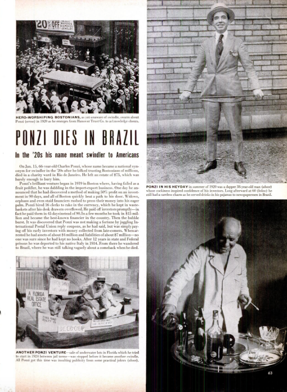 Ponzi's full-page obituary in the Jan. 31, 1949, issue of LIFE