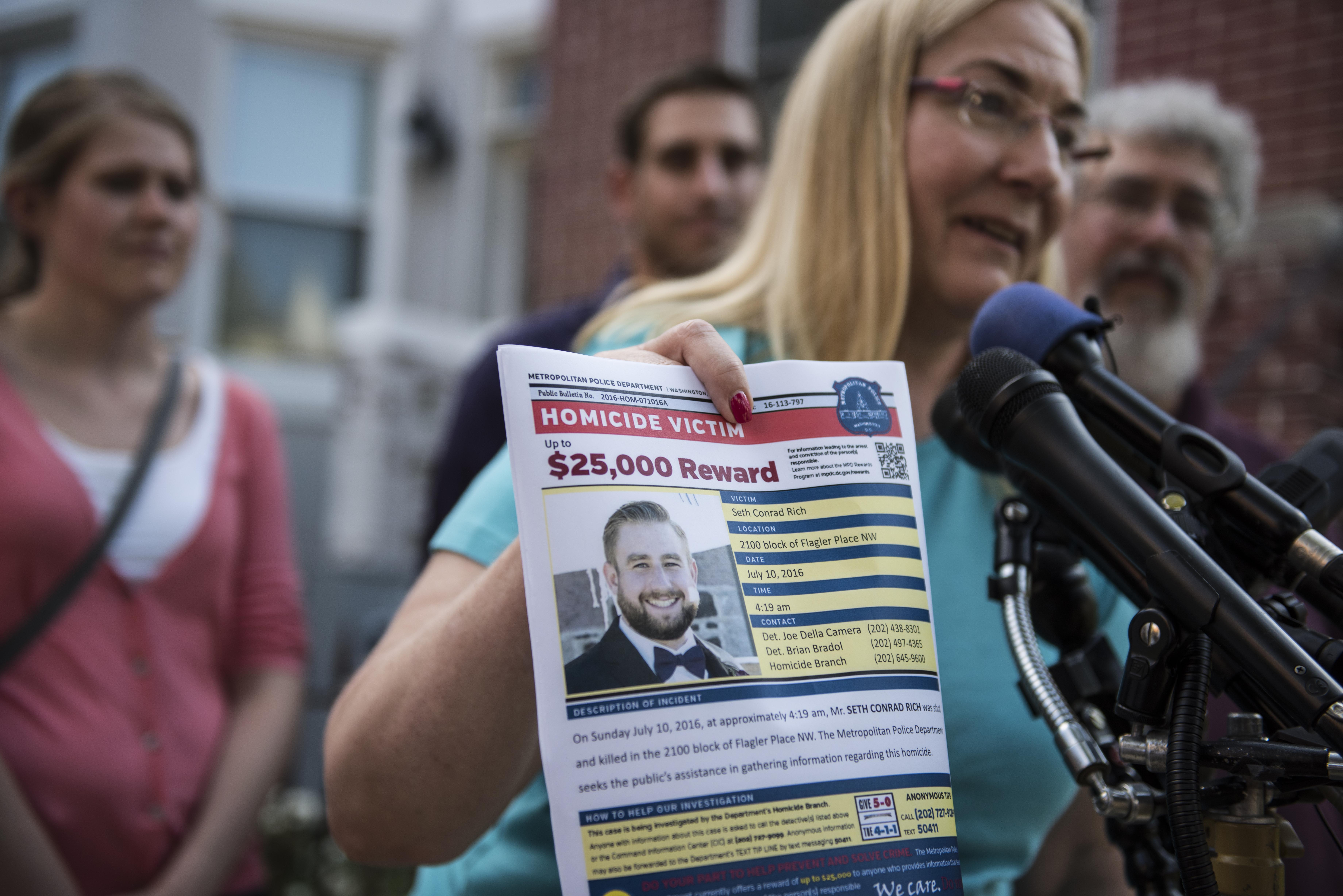 Mary Rich, the mother of slain DNC staffer Seth Rich, gives a press conference in Bloomingdale on August 1, 2016. Seth Rich was gunned down in the DC neighborhood a month ago and the Rich's were imploring people for any information they may have about his killer.