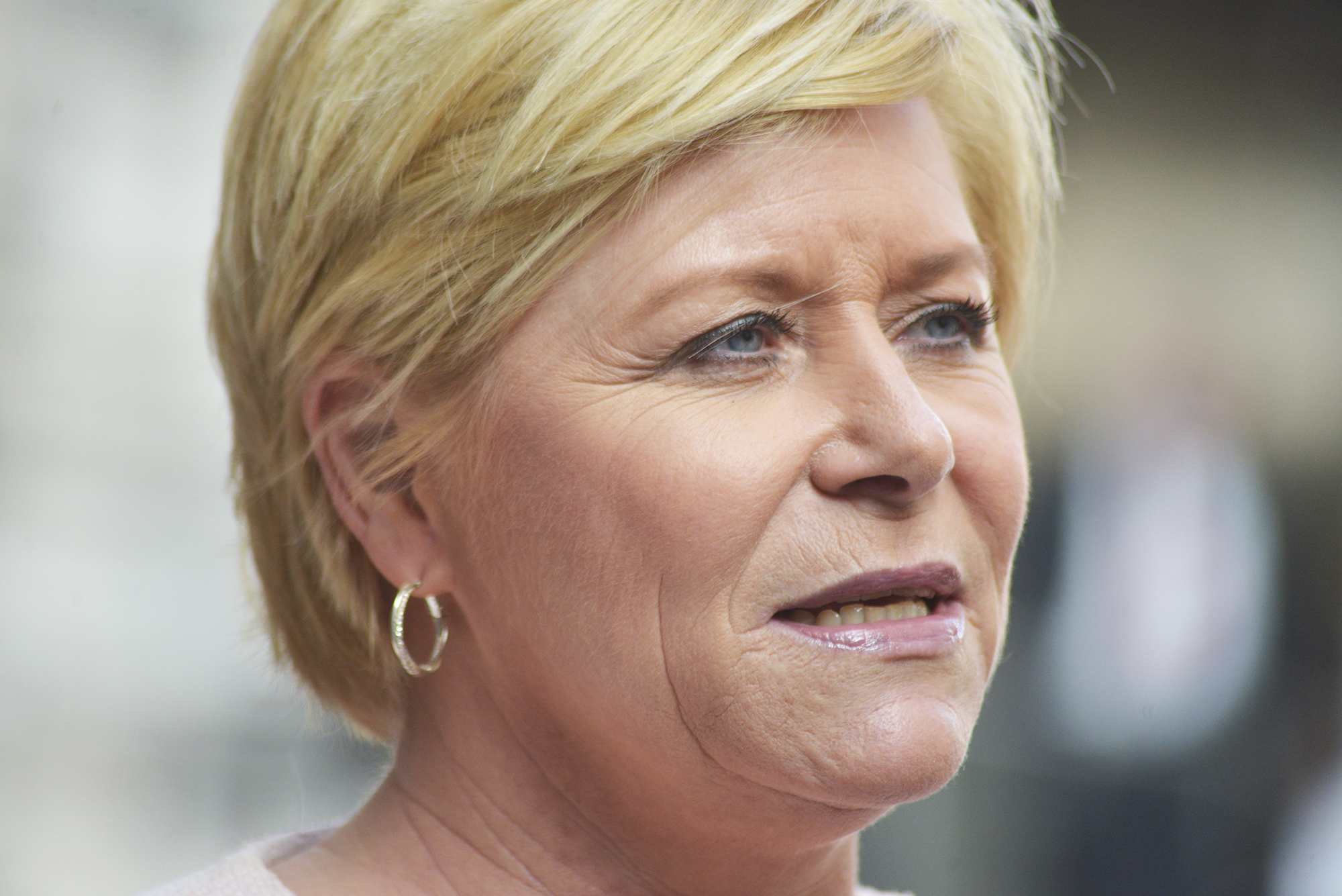 Siv Jensen, a politician in the Norwegian Parliament and leader of the Progress Party, in 2016.