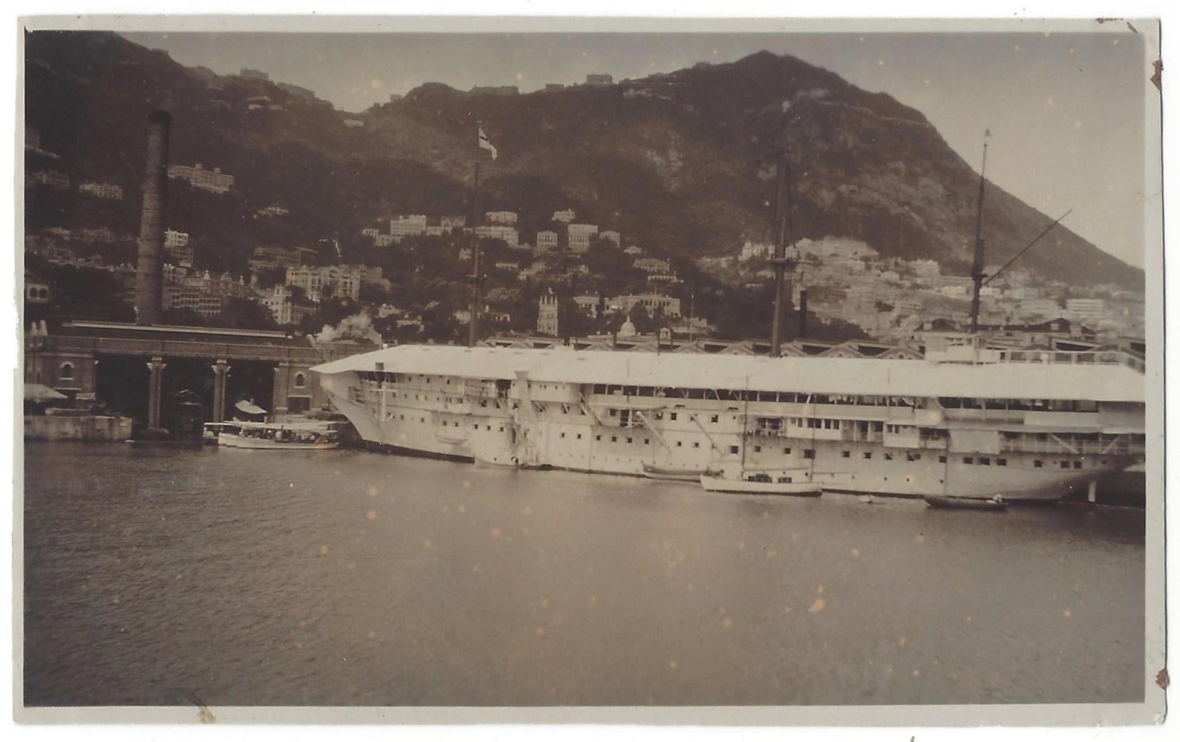 HMS Tamar in Hong Kong's Victoria Harbor.