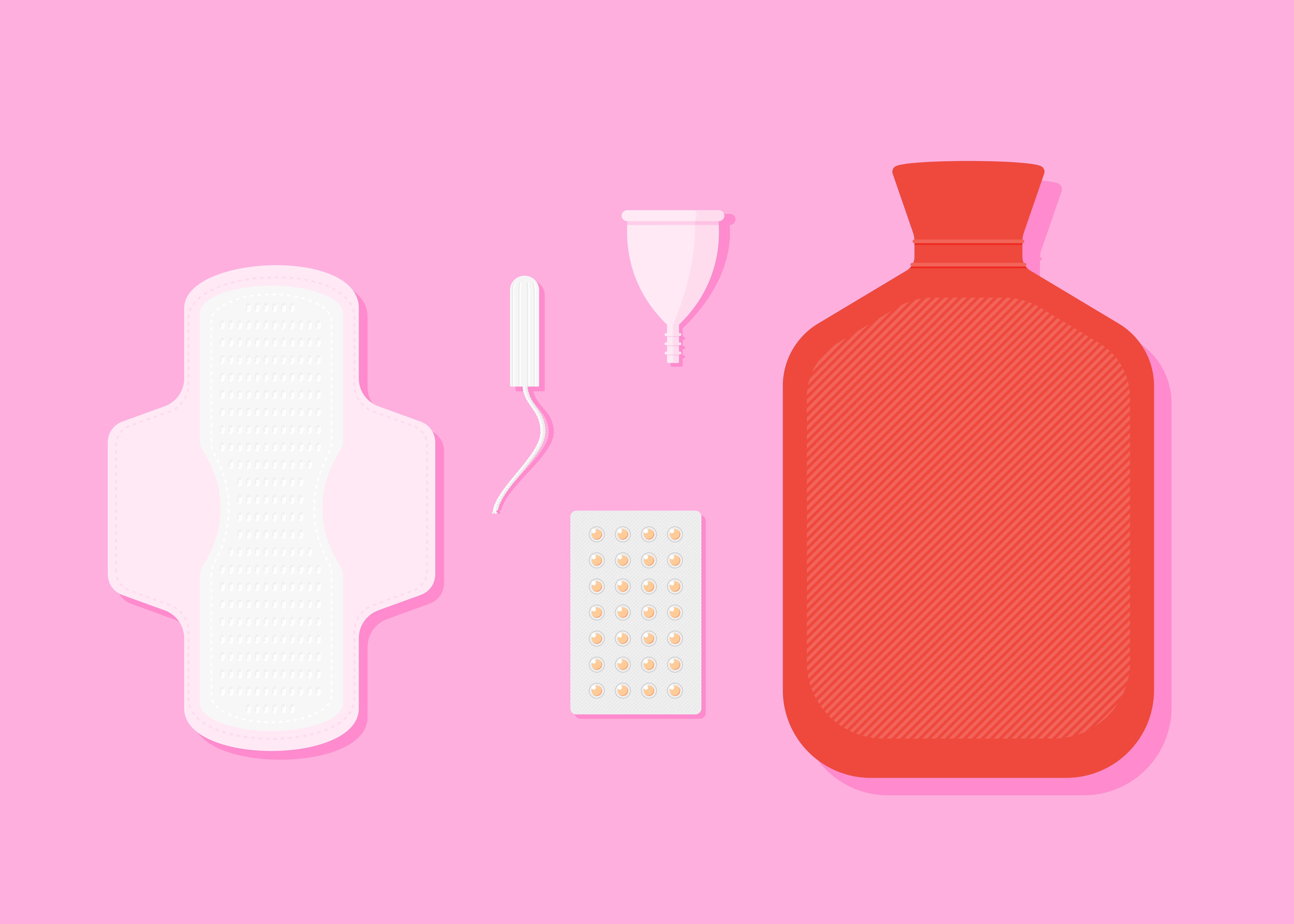 Period pain relief feminine menstruation hygiene set illustration