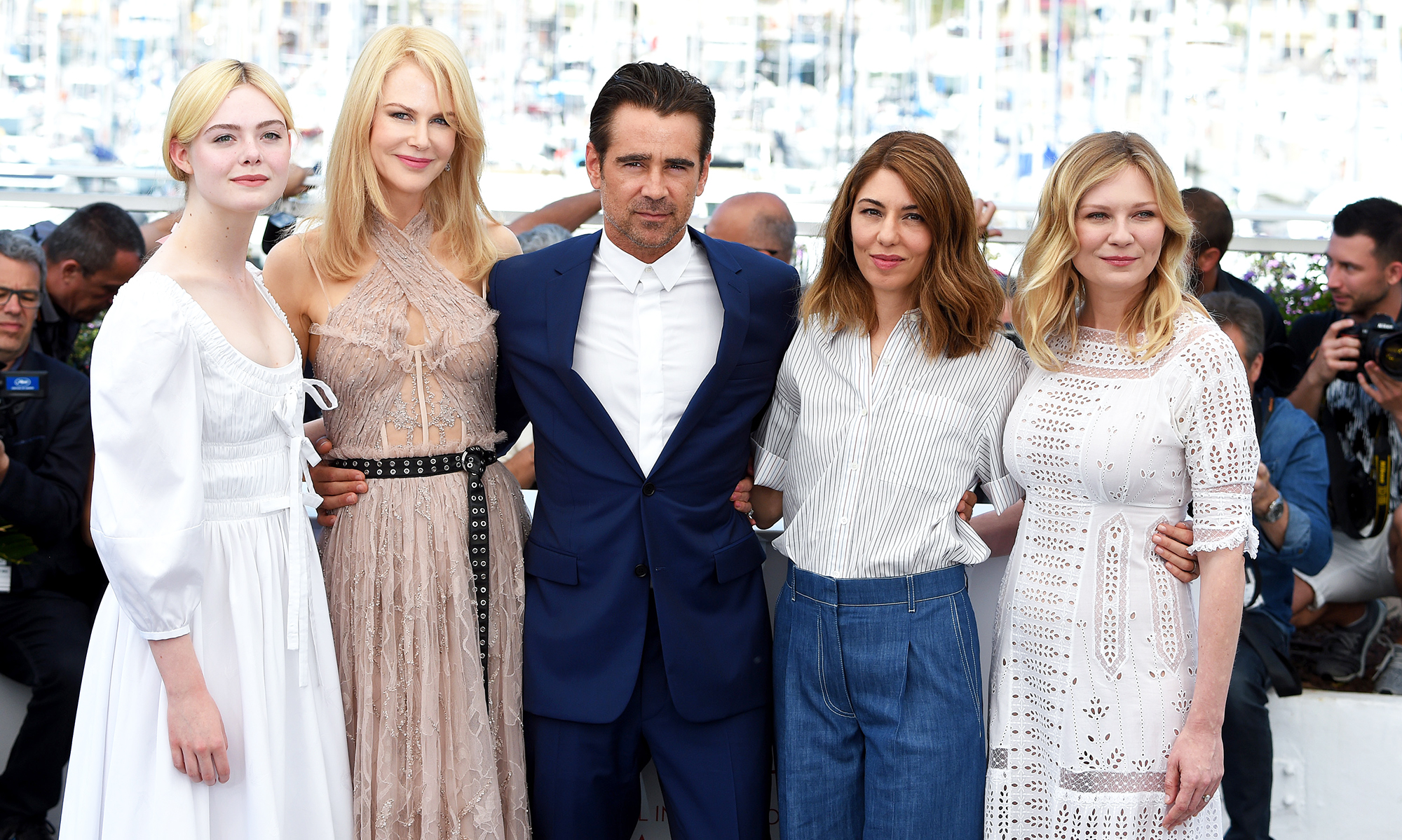 From left: Elle Fanning, Nicole Kidman, Colin Farrell, Sophia Coppola and Kirsten Dunst, on May 24, 2017 in Cannes, France.