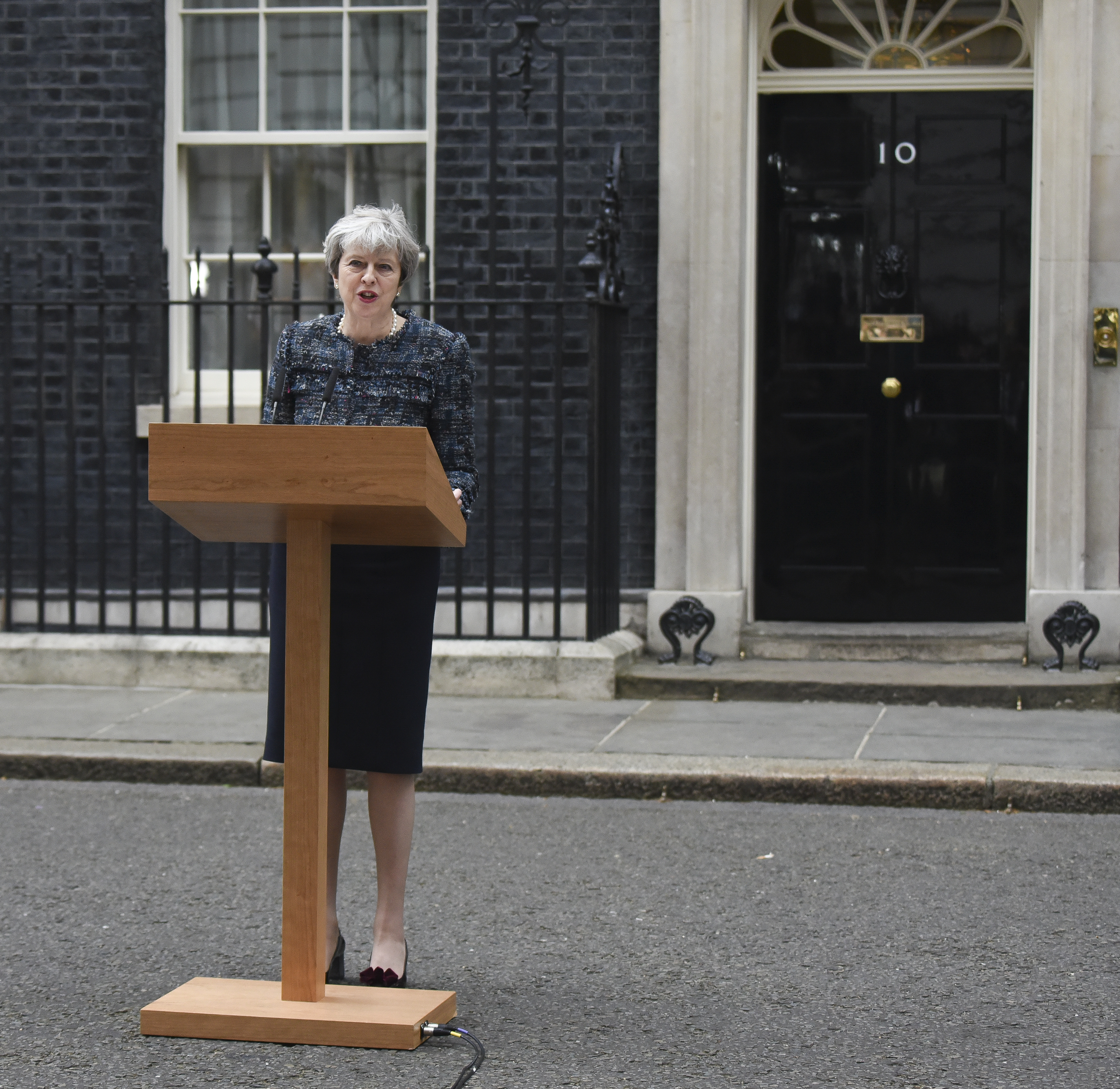 Prime Minister Theresa May seen at Downing Street after seeing the Queen and making a speech to the nation on May 03, 2017 in London.