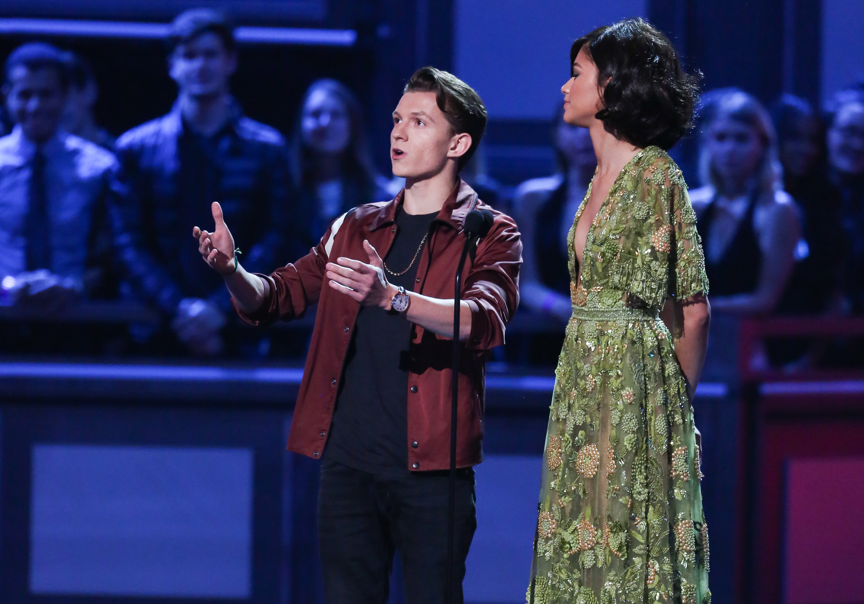 LOS ANGELES, CA - MAY 07:  Actors Zendaya (L) and Tom Holland (R) attend the 2017 MTV Movie And TV Awards at The Shrine Auditorium on May 7, 2017 in Los Angeles, California.  (Photo by Paul Archuleta/FilmMagic)
