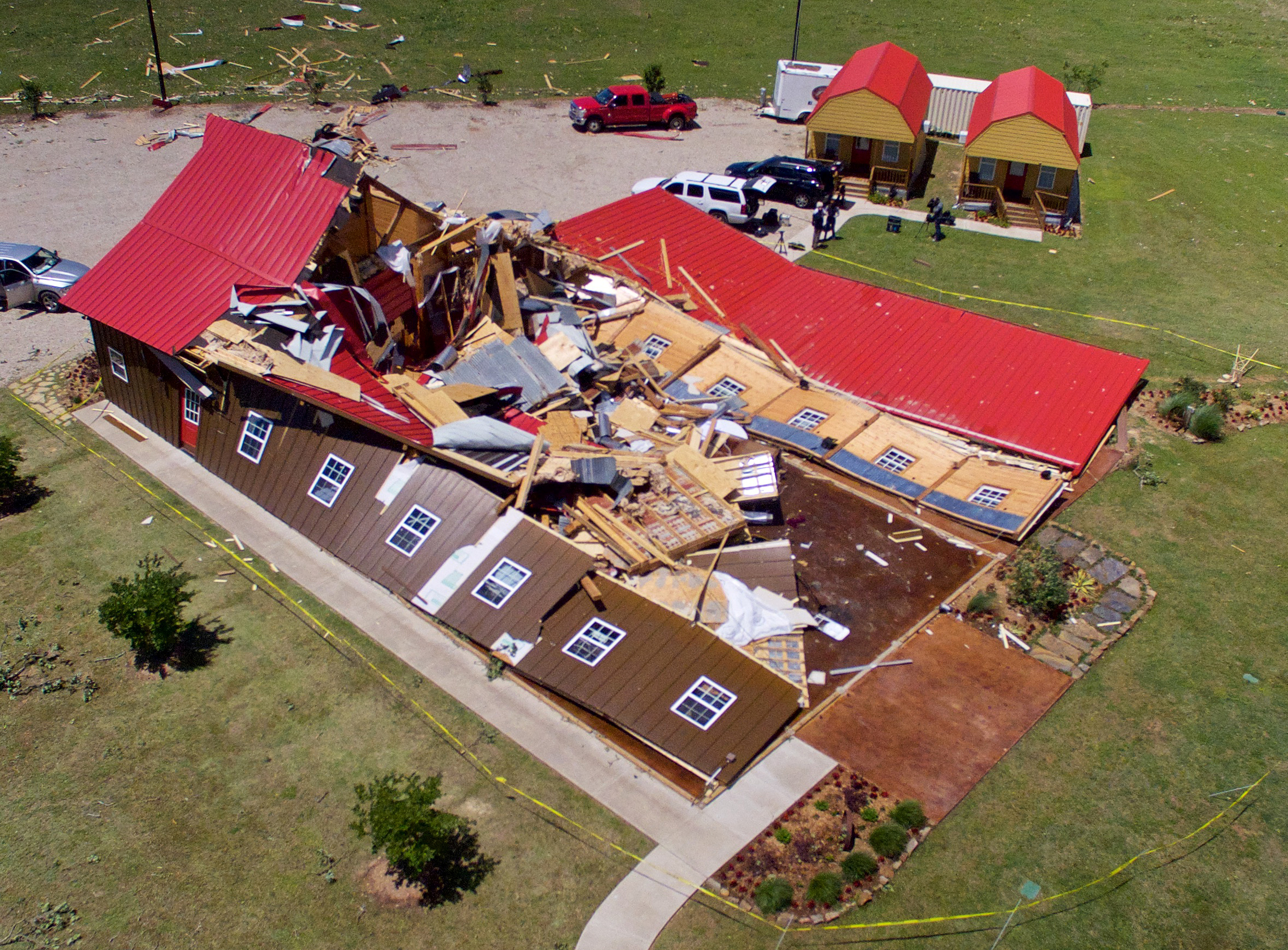 The Rustic Barn, an event hall, which suffered major tornado damage, is seen from an unmanned aerial vehicle in Canton, Texas, April 30, 2017.