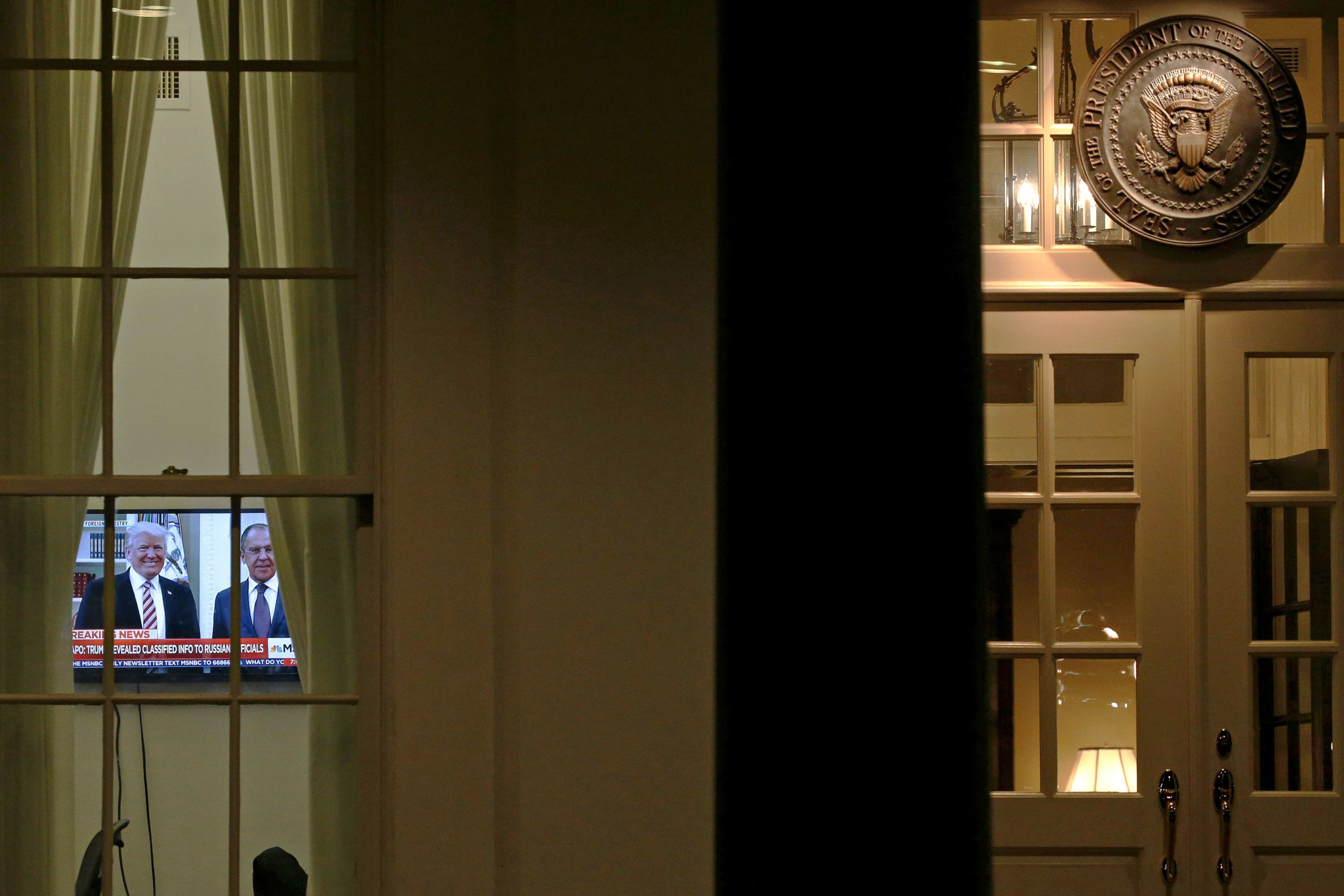 Televisions in the West Wing were tuned on May15 to reports that Trump had shared intelligence with the Russian ForeignMinister