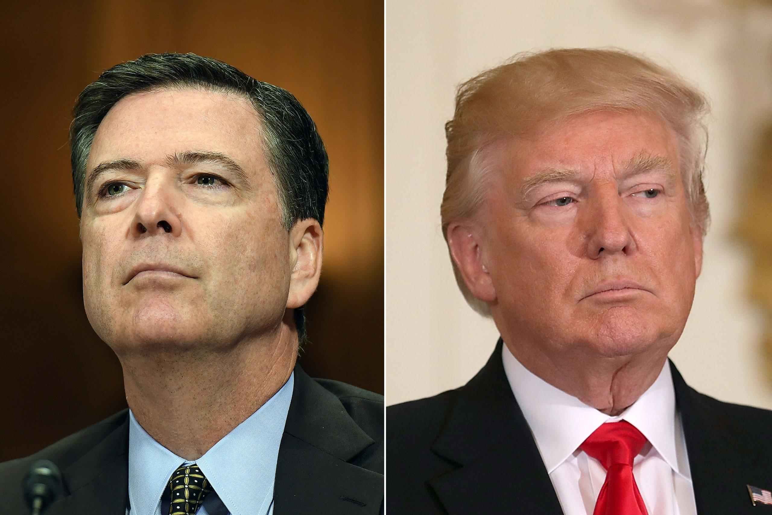 James Comey appears before the Senate Judiciary Committee in Washington on May 3, 2017 (L); Donald Trump in The White House in Washington on May 12, 2017.