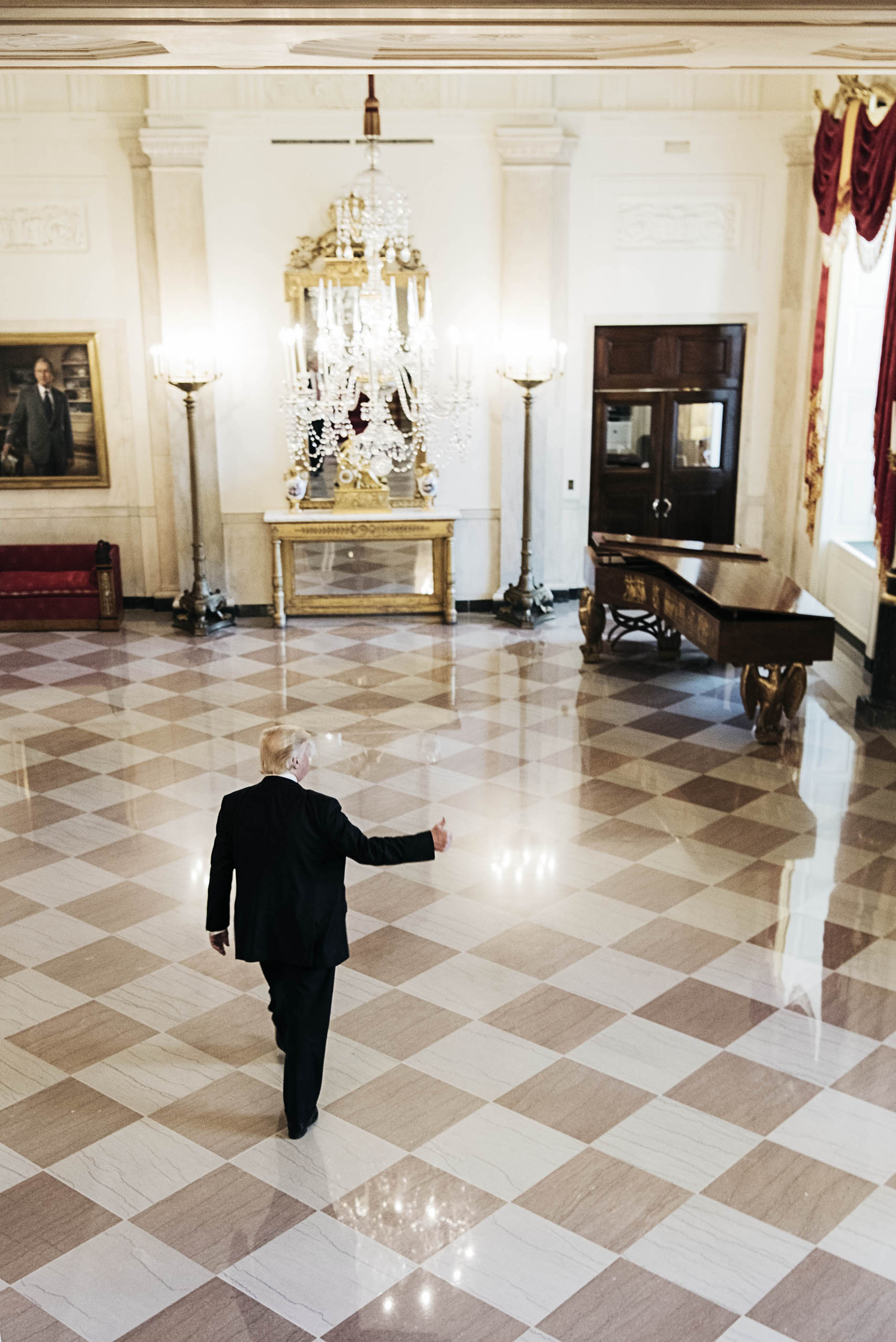 President Trump in the Grand Foyer of the White House, Washington, D.C., May 8, 2017.