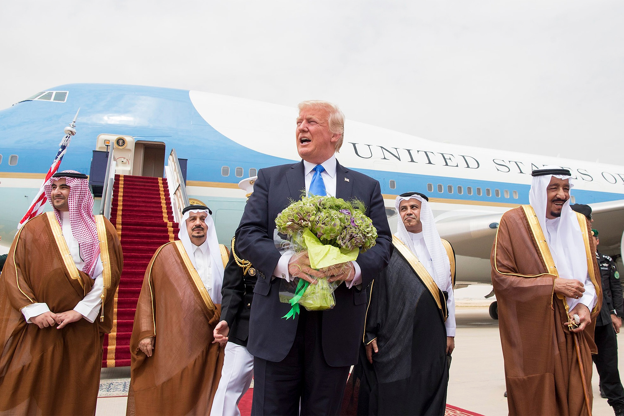 Saudi King Salman bin Abdulaziz Al Saud, right, receives Donald and Melania Trump in Riyadh, Saudi Arabia, on May 20, 2017.