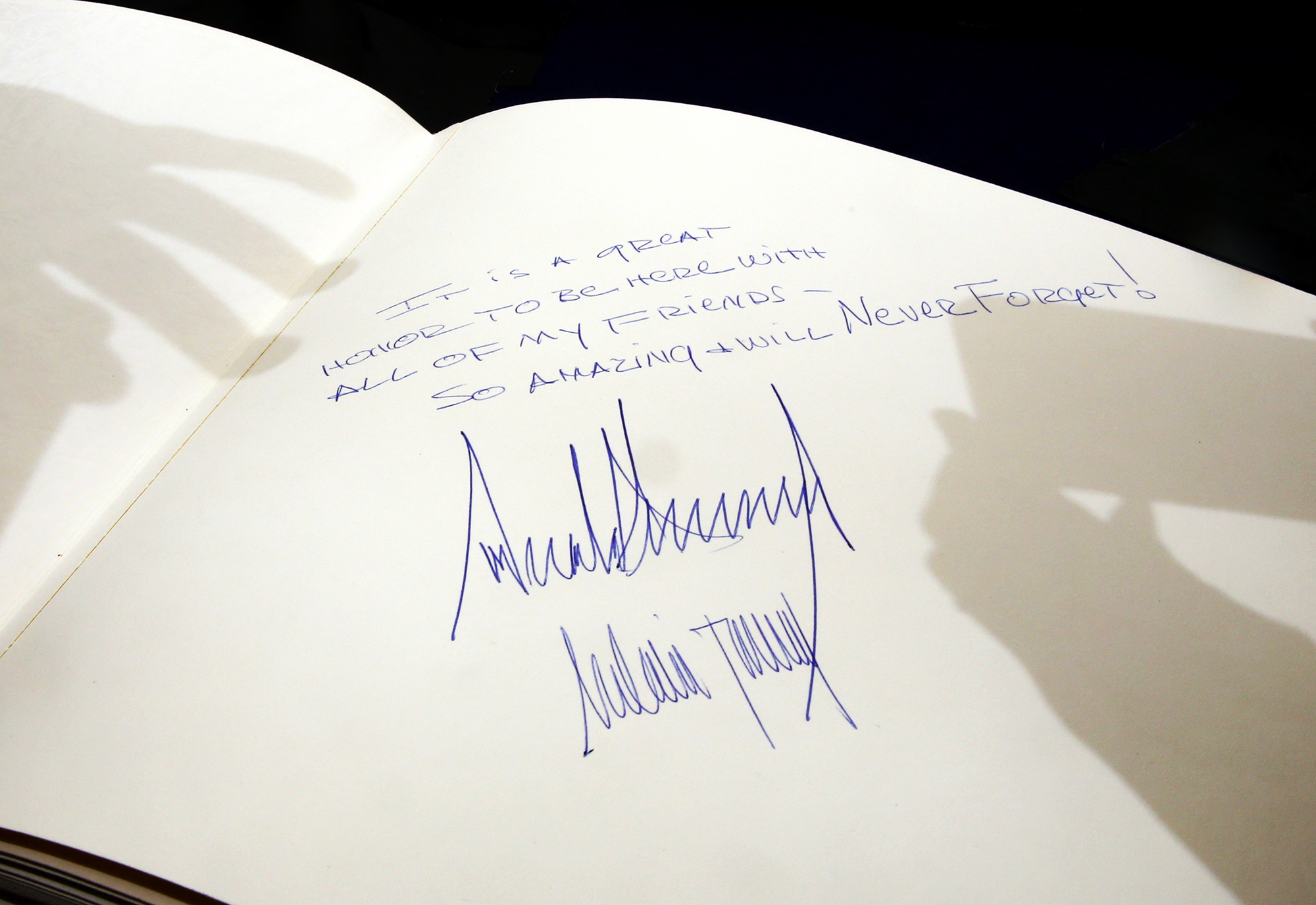 The message written by Donald Trump at the Yad Vashem Holocaust Memorial Museum guest book, signed by him and his wife Melania during a visit in Jerusalem, Israel, on May 23, 2017.