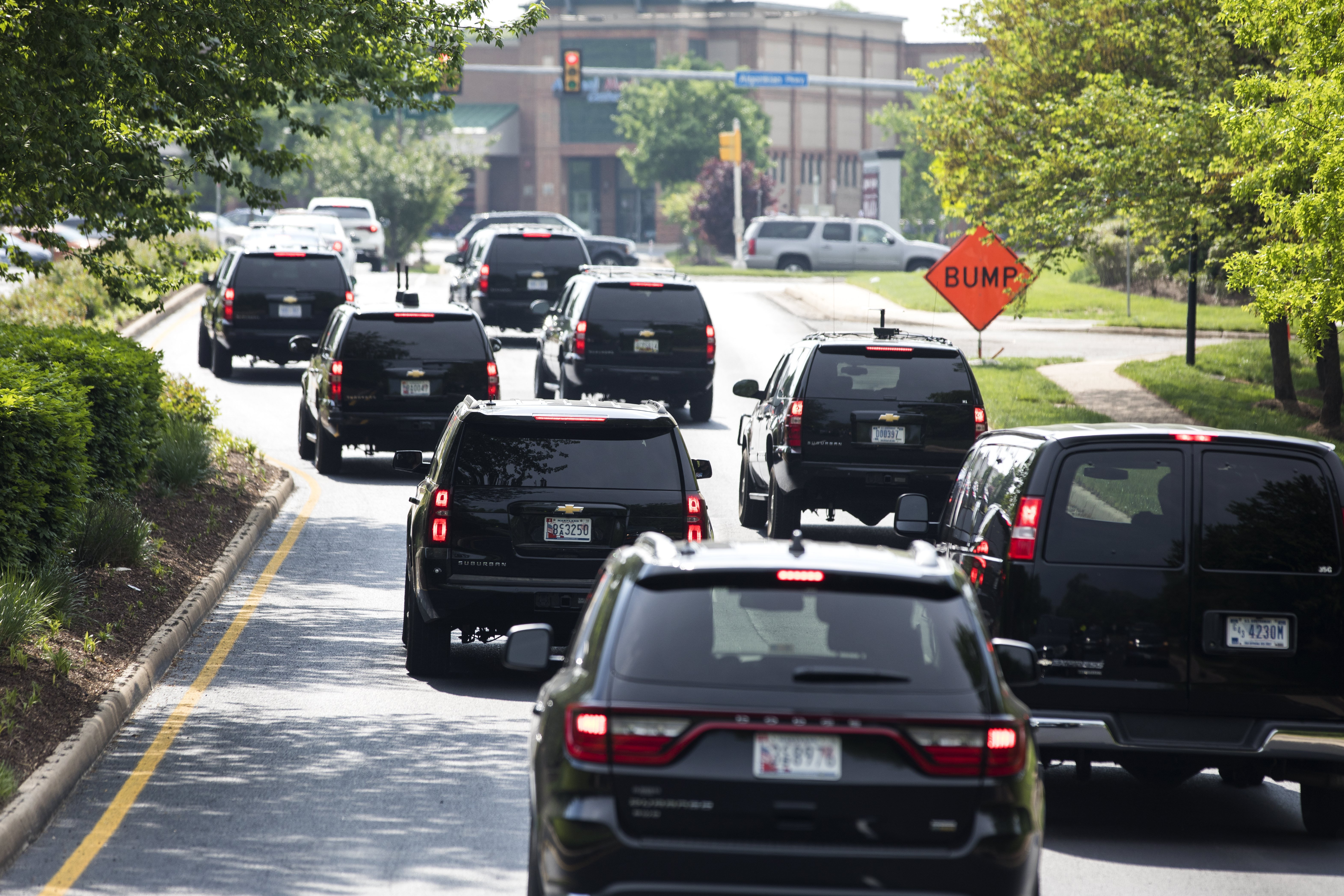 President Donald J. Trump's motorcade heads back to the White House from the Trump National Golf Club in Sterling, Virginia on April 30, 2017.