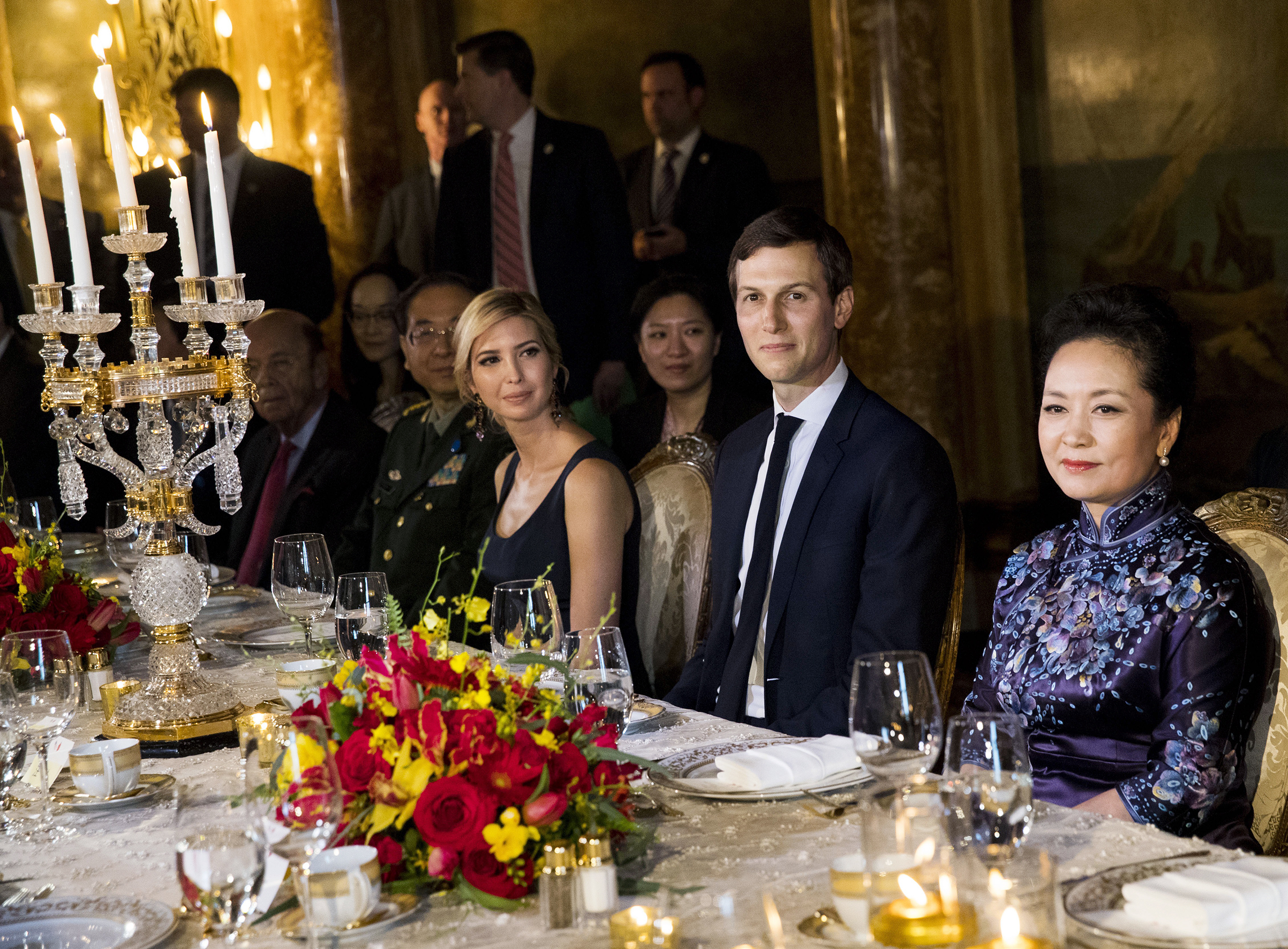 Ivanka Trump and Jared Kushner attend a state dinner with President Xi Jinping of China and his wife at the Mar-a-Lago resort in Palm Beach, Fla., April 6, 2017.