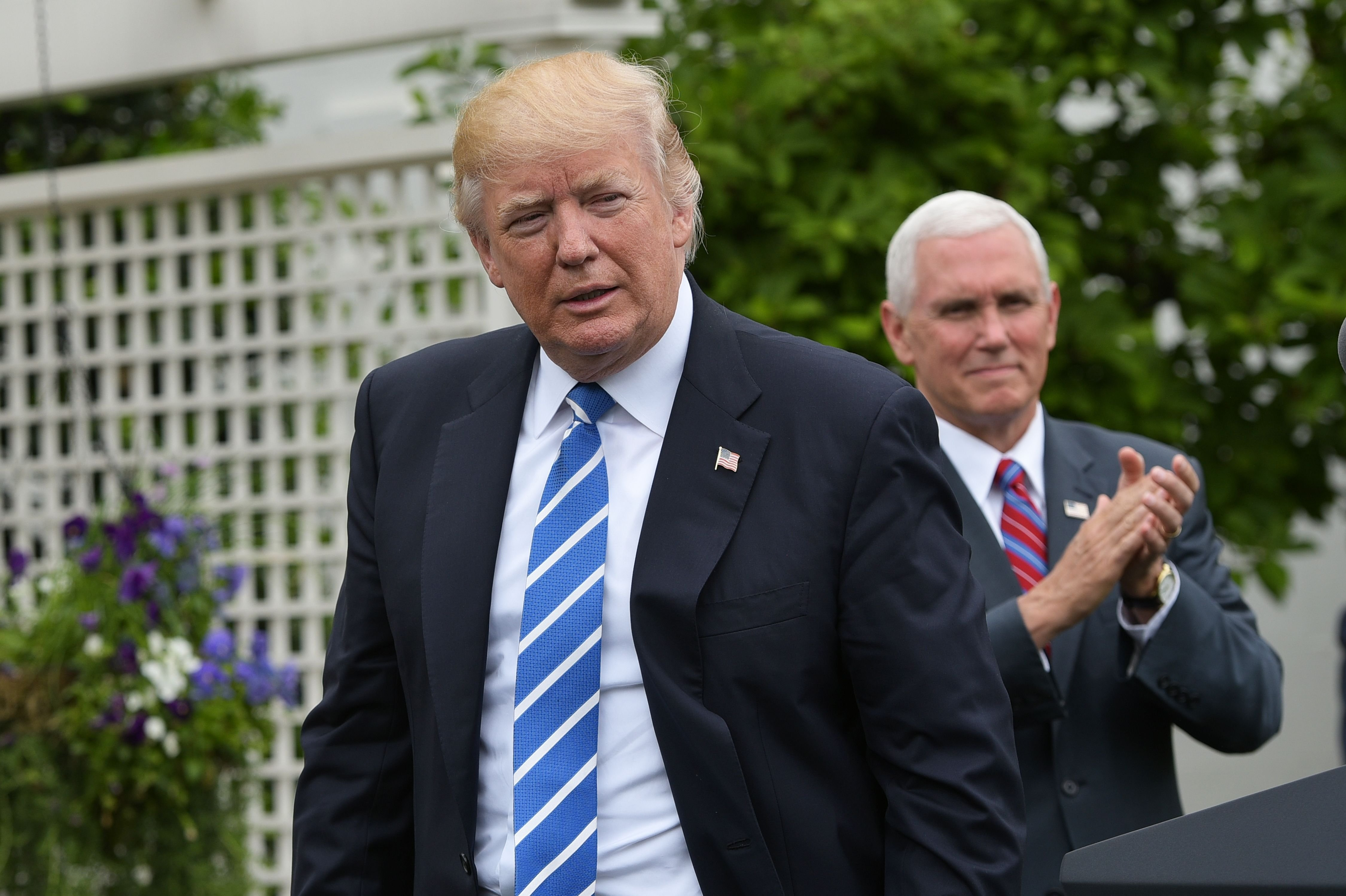 President Donald Trump during an event for the Independent Community Bankers Association in the Kennedy Garden of the the White House on May 1, 2017 in Washington