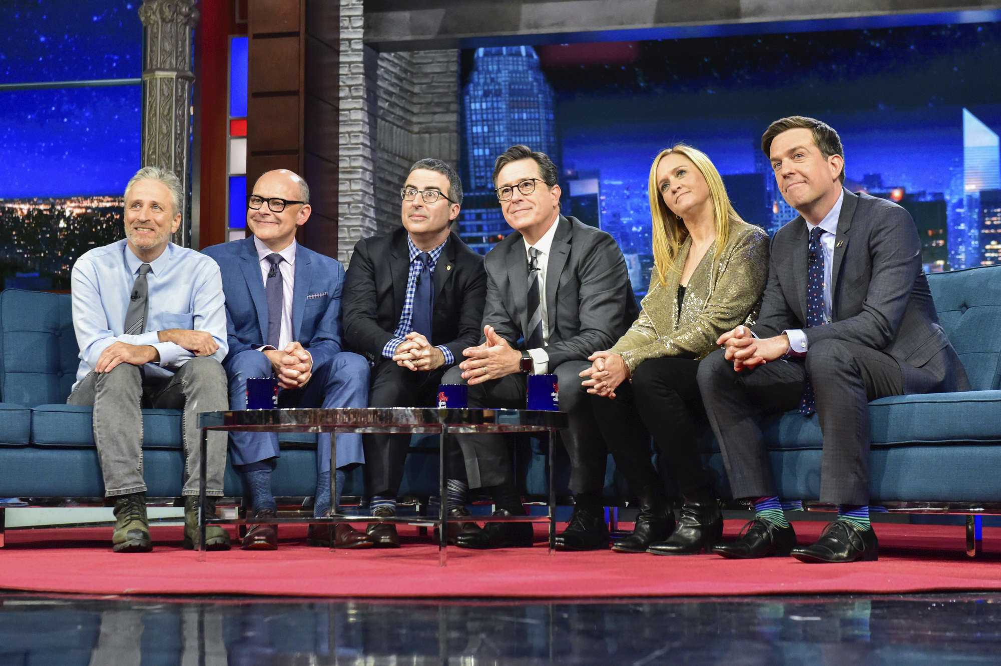Stephen Colbert with guests Jon Stewart, Rob Corddry, John Oliver, Samantha Bee, and Ed Helms during  The Late Show with Stephen Colbert,  on May 9, 2017, in New York.