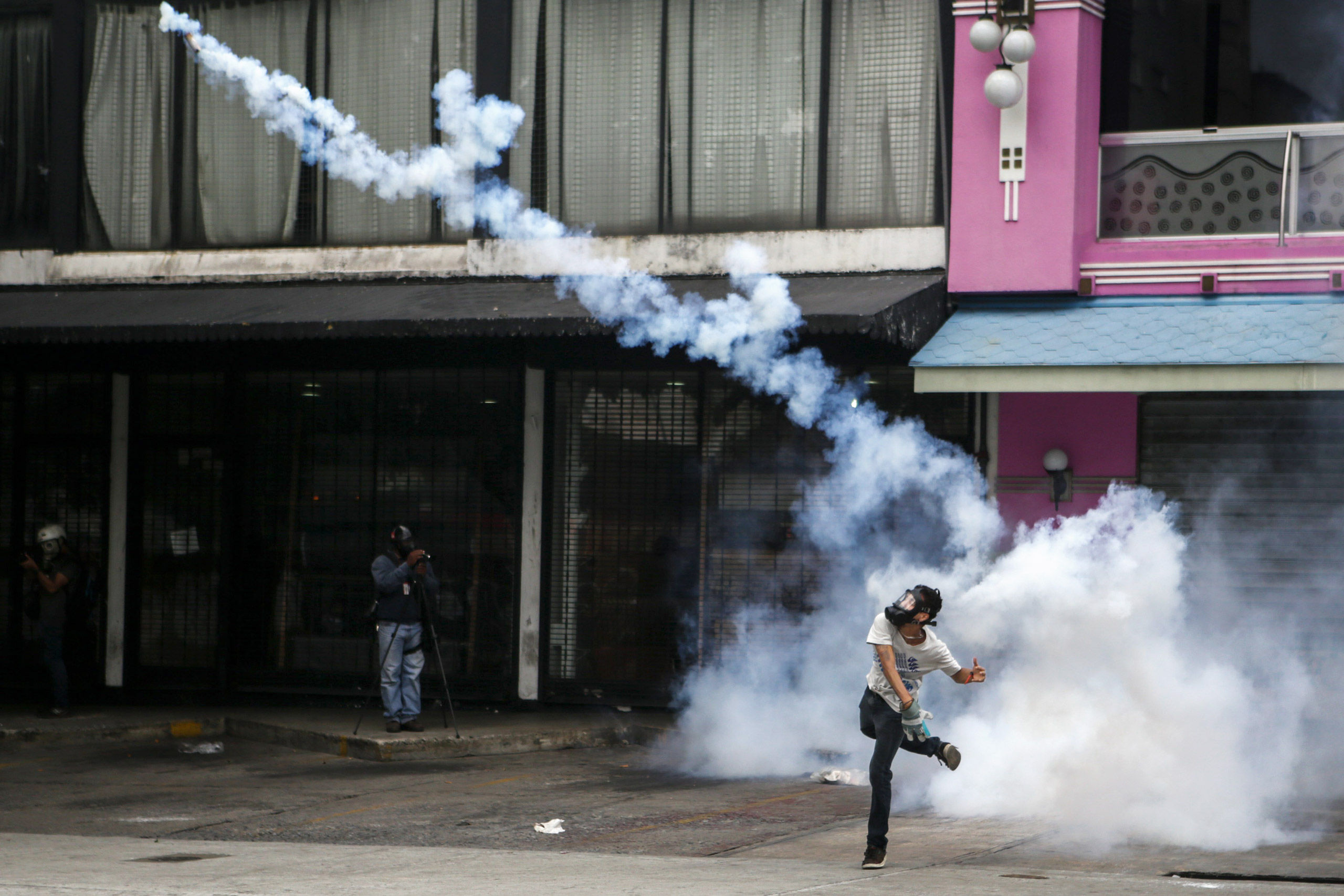 A protester in Caracas rioted against the Maduro government in April