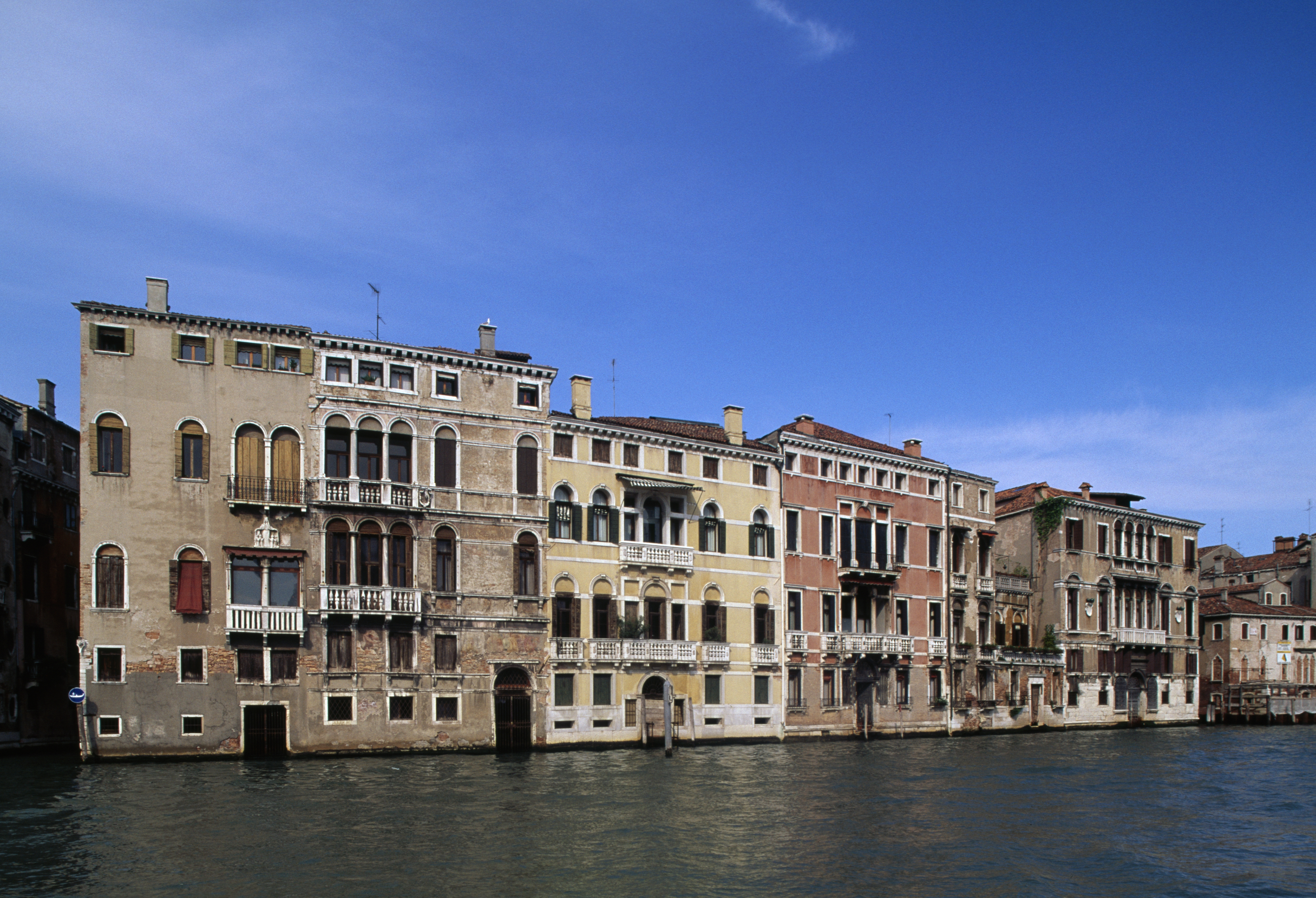 ITALY - CIRCA 2016: Glimpse of the buildings along the Grand Canal, Venice (UNESCO World Heritage List, 1987), Veneto, Italy. (Photo by DeAgostini/Getty Images)