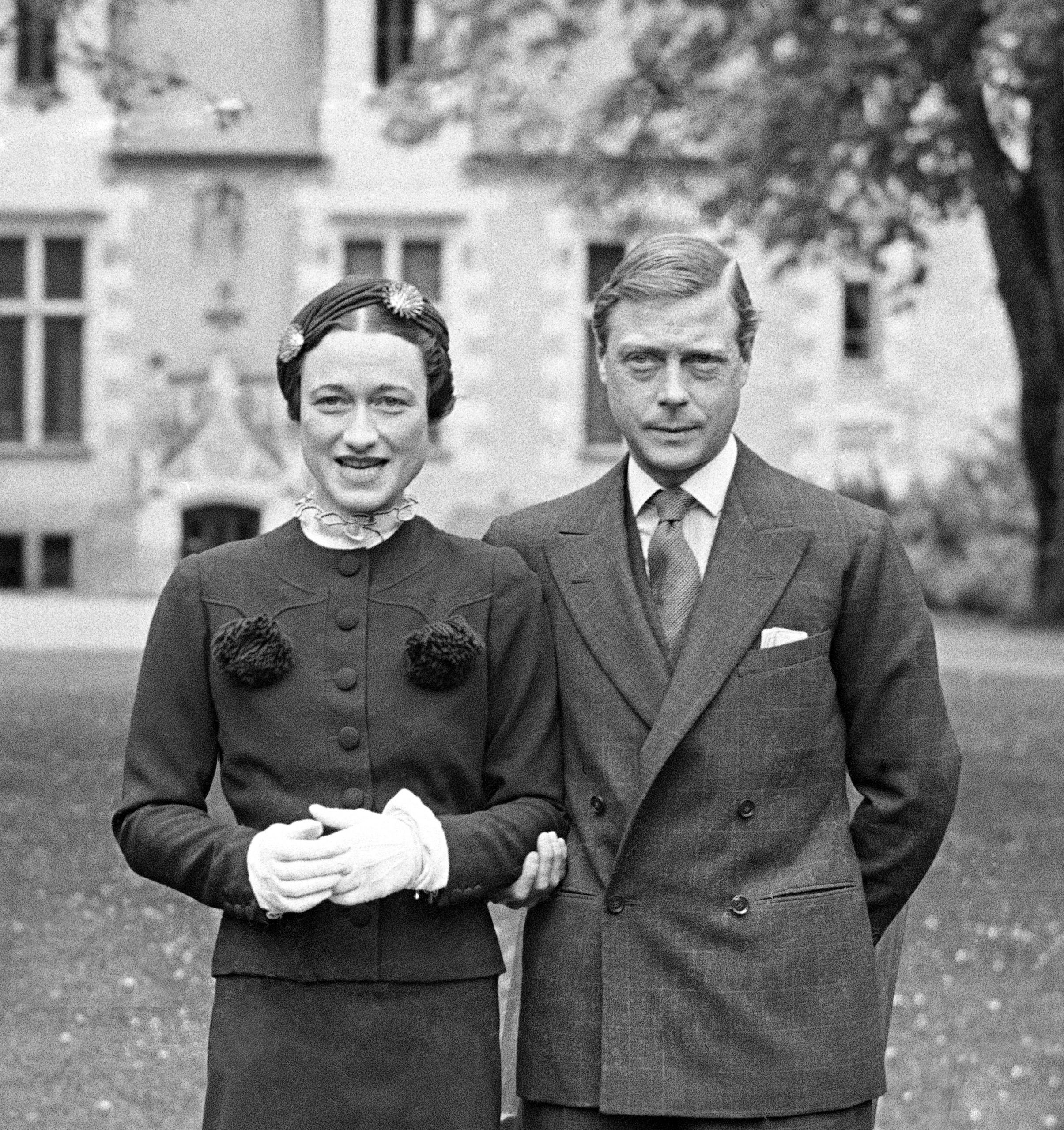 Edward, The Duke of Windsor and Wallis Simpson on the grounds of the Chateau de Cande in Touraine, France on May 7, 1937.