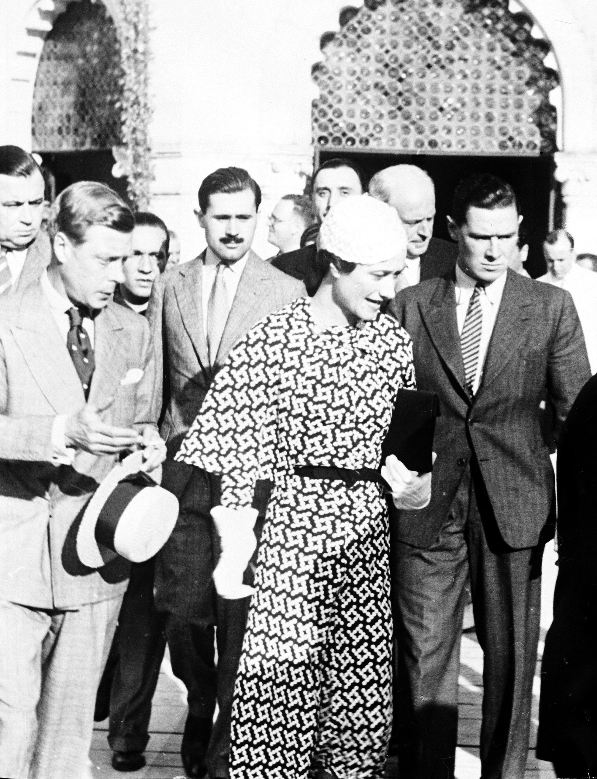 The Duke and Duchess of Windsor leave a hotel  in Venice, Italy, June 4, 1937, where they took tea before leaving for their honeymoon in Austria.
