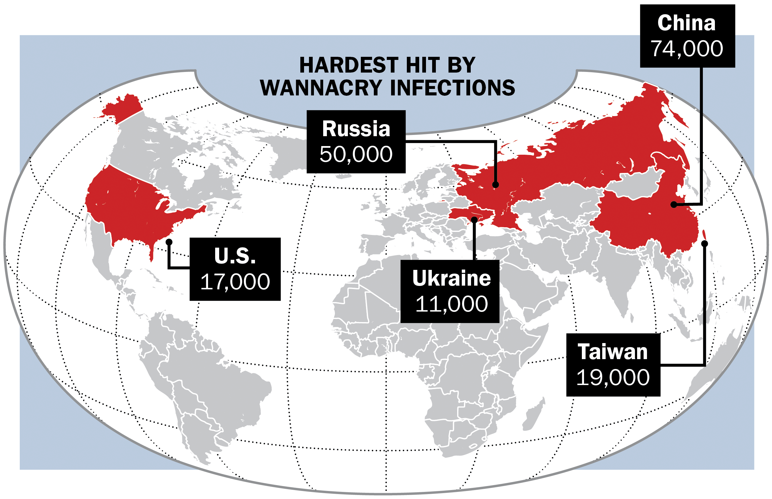 Map reflects the minimum number of unique infections tallied between 3 p.m. GMT on May 12 and 3 a.m. GMT May 17 based on IP addresses.