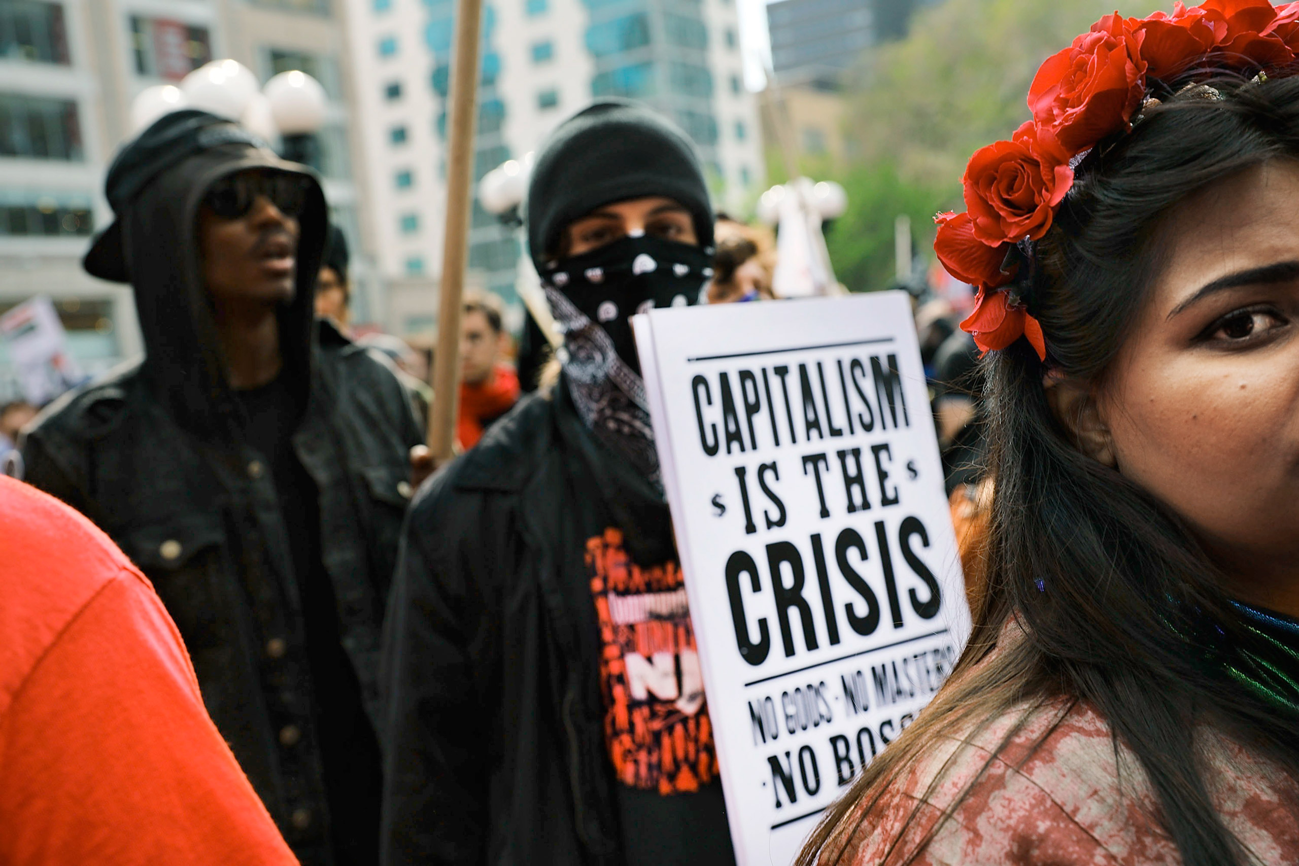 Protests like this International Workers' Day demonstration in New York City on May 1 will become more common around the globe