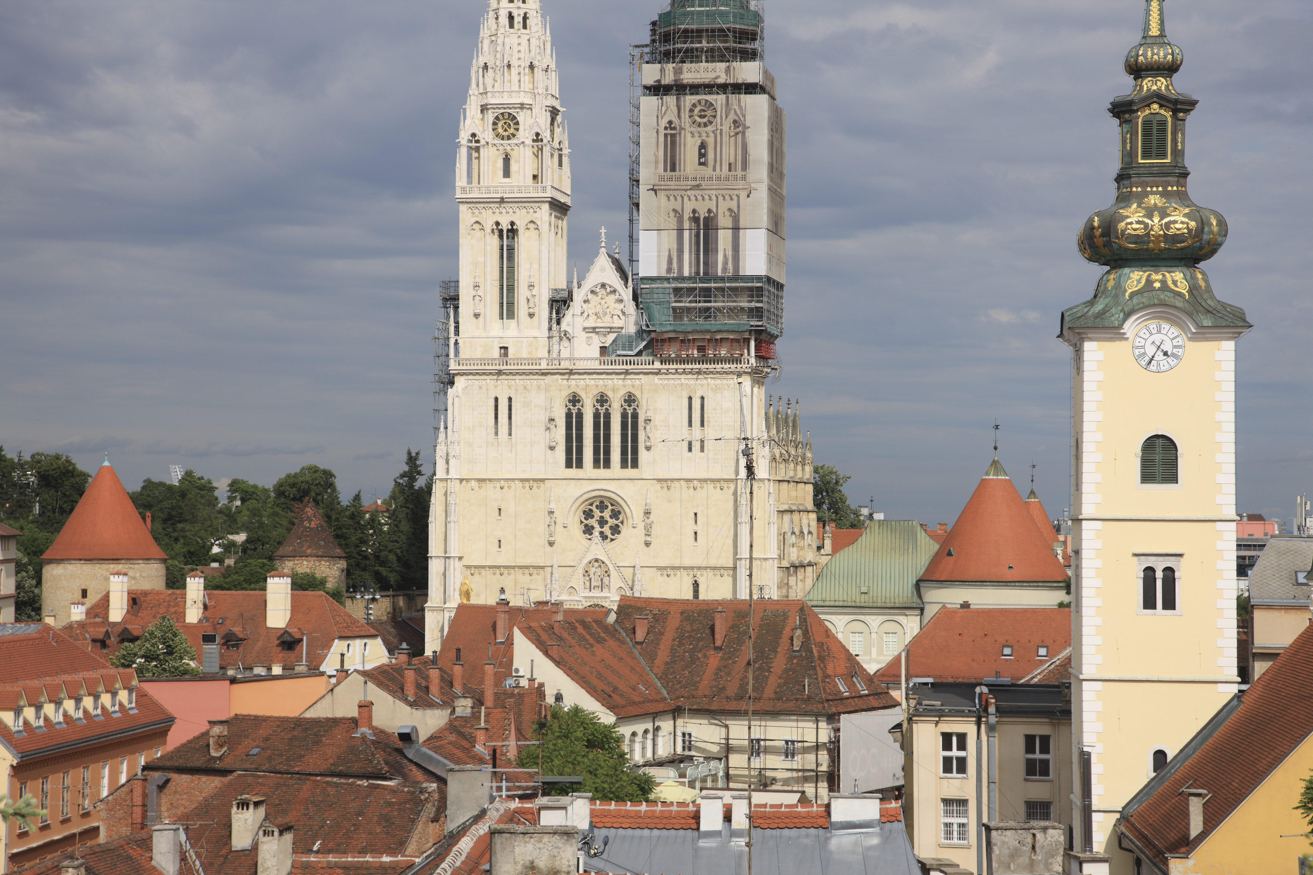Croatia, Zagreb, View of Zagreb Cathedral and houses (Photo by: JTB Photo/UIG via Getty Images)