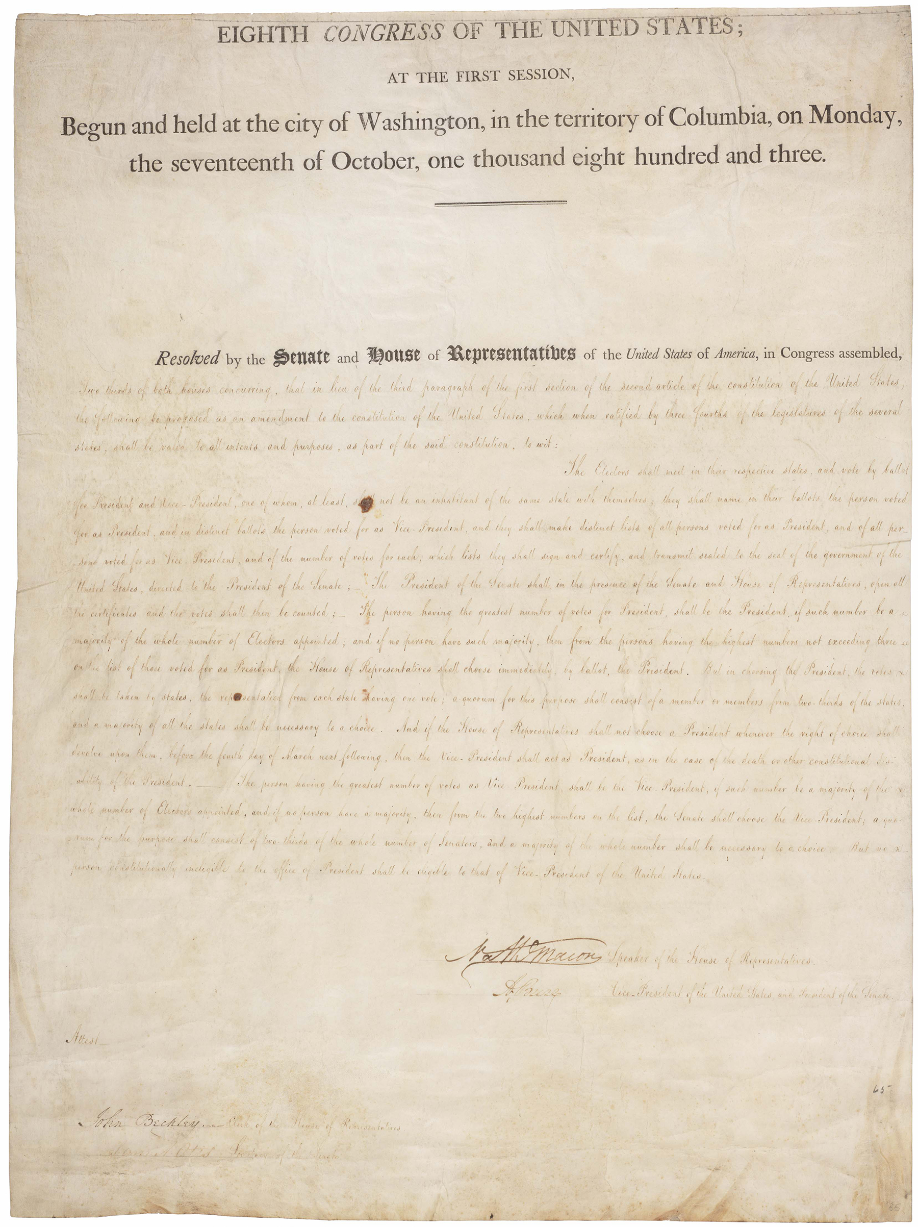 The first page of the 12th Amendment, 1804.