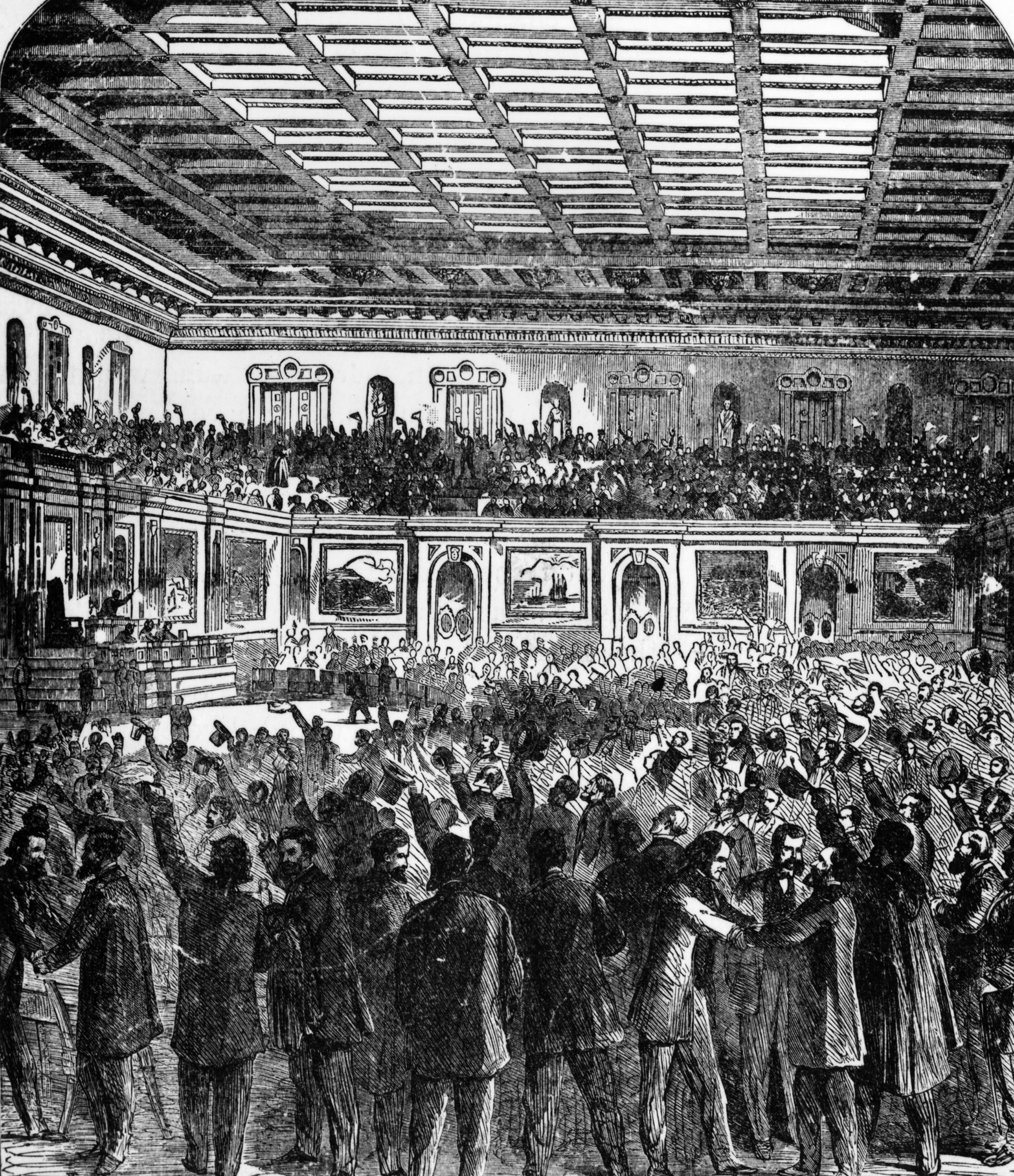 The House of Representatives celebrating the passage of the 13th Amendment to the U.S. Constitution which prohibited slavery, Dec. 6, 1865.