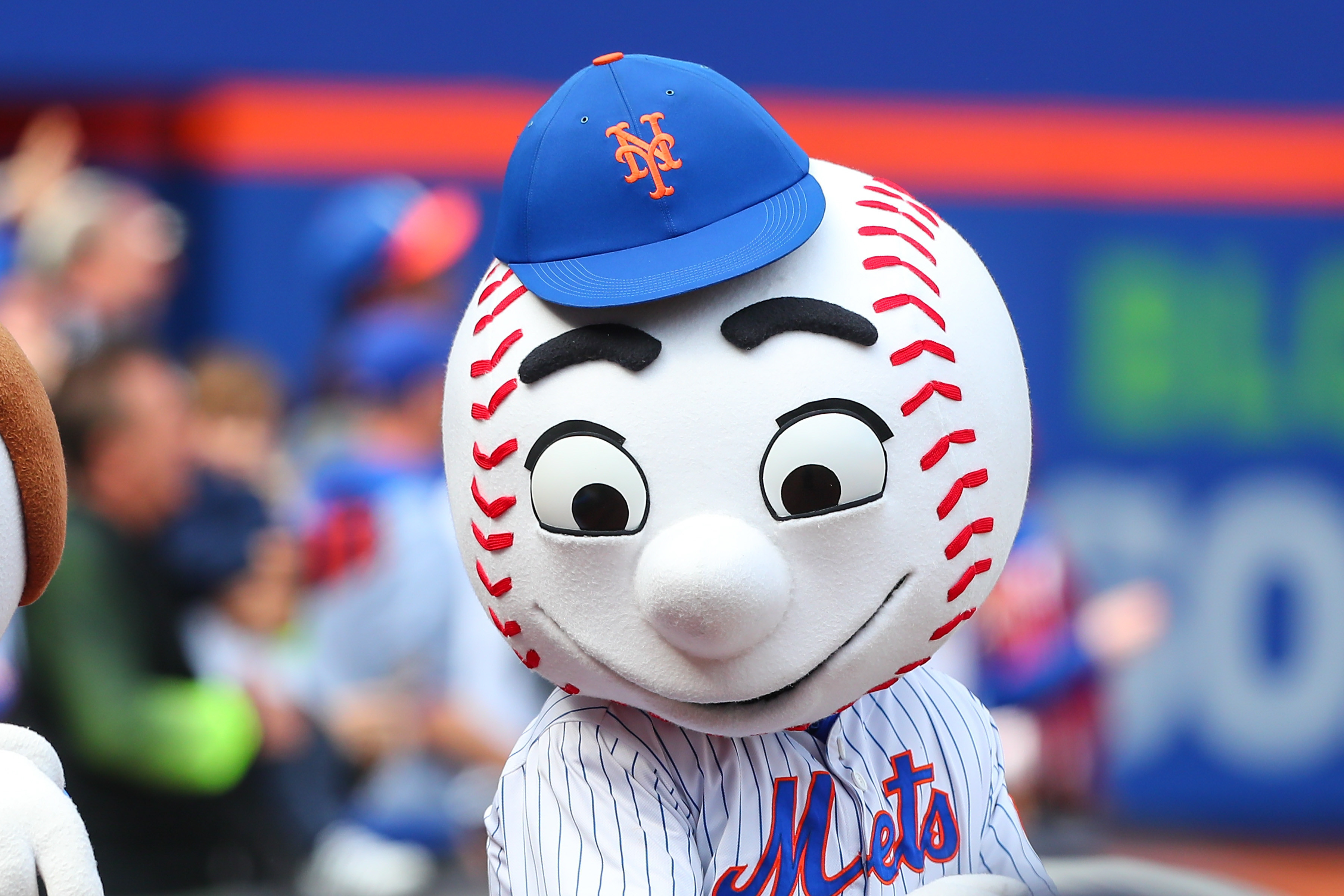 Mr. Met on Opening Day between the New York Mets and the Atlanta Braves on April 3, 2017, at Citi Field in Flushing, New York.