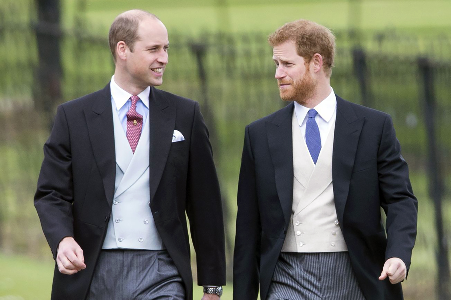 Prince William and Prince Harry at the wedding of James Matthews and Pippa Middleton on May 20, 2017.