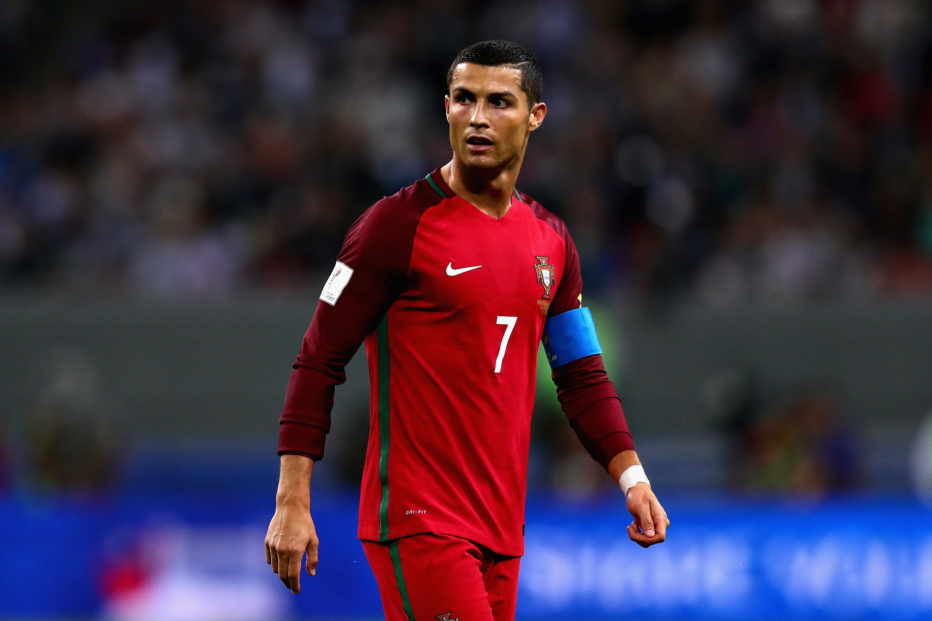 Cristiano Ronaldo of Portugal in action during the FIFA Confederations Cup Russia 2017 Semi-Final between Portugal and Chile at Kazan Arena on June 28, 2017 in Kazan, Russia.